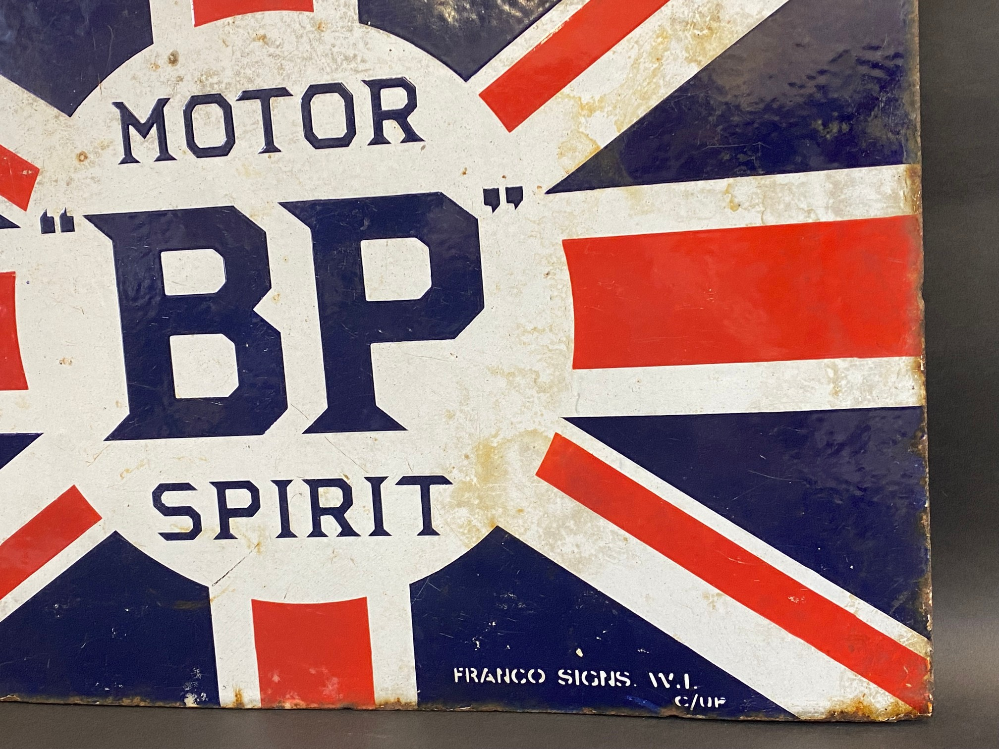 """A BP Motor Spirit 'Union Jack' double sided enamel sign with hanging flange by Franco, 24 x 16"""". - Image 2 of 6"""