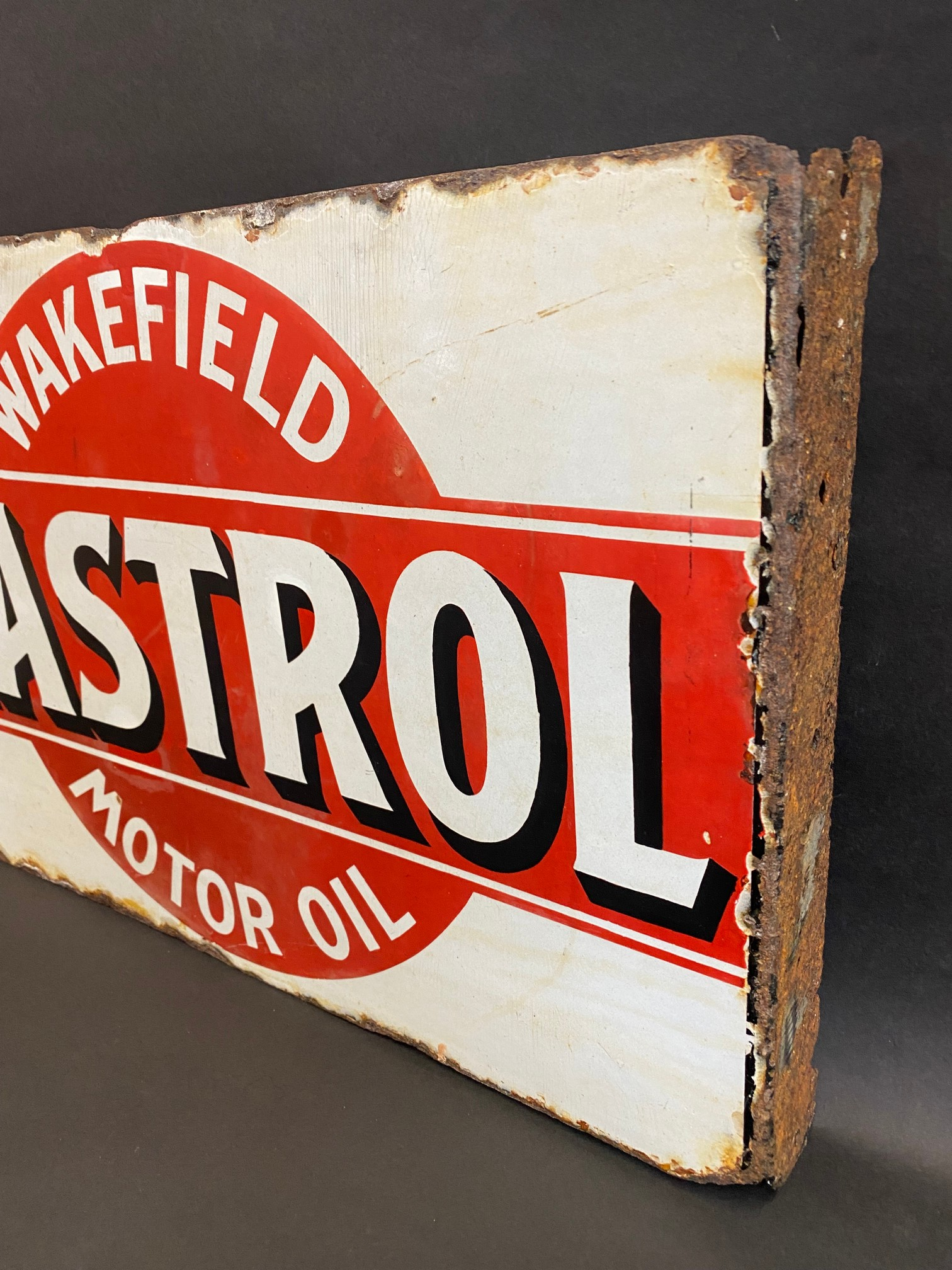 An early Wakefield Castrol Motor Oil double sided enamel sign with hanging flange, rare red and - Image 7 of 7