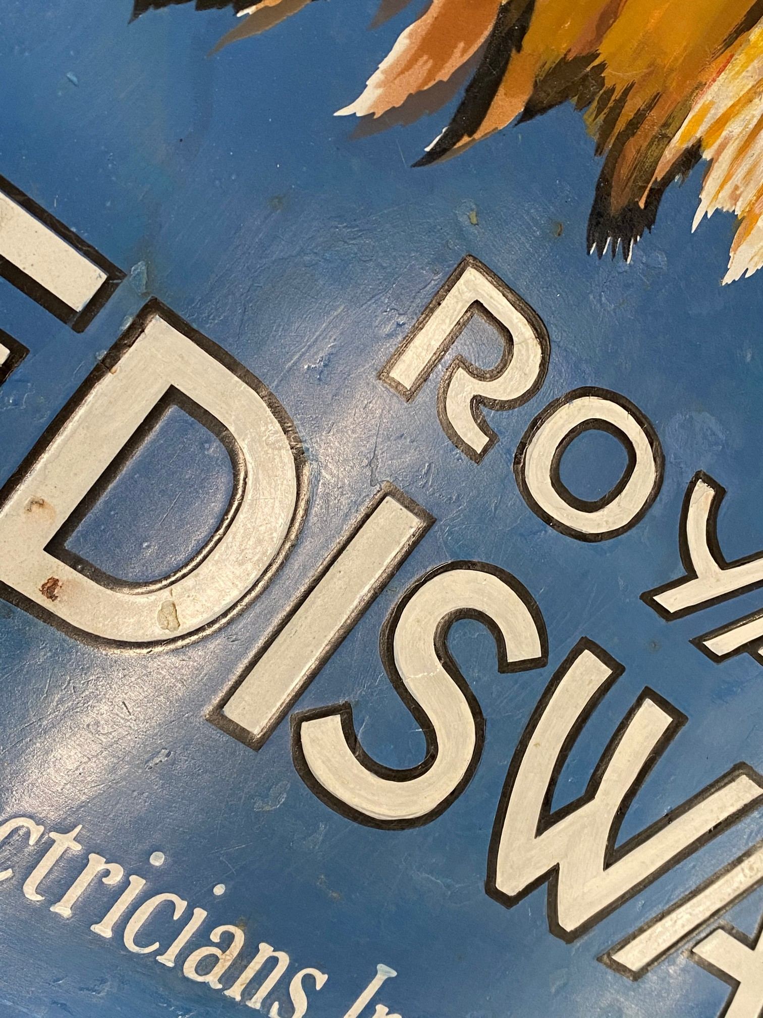 A Royal 'Ediswan' pictorial enamel sign depicting a lion's head, with a bulb in his mouth, restored, - Image 2 of 7