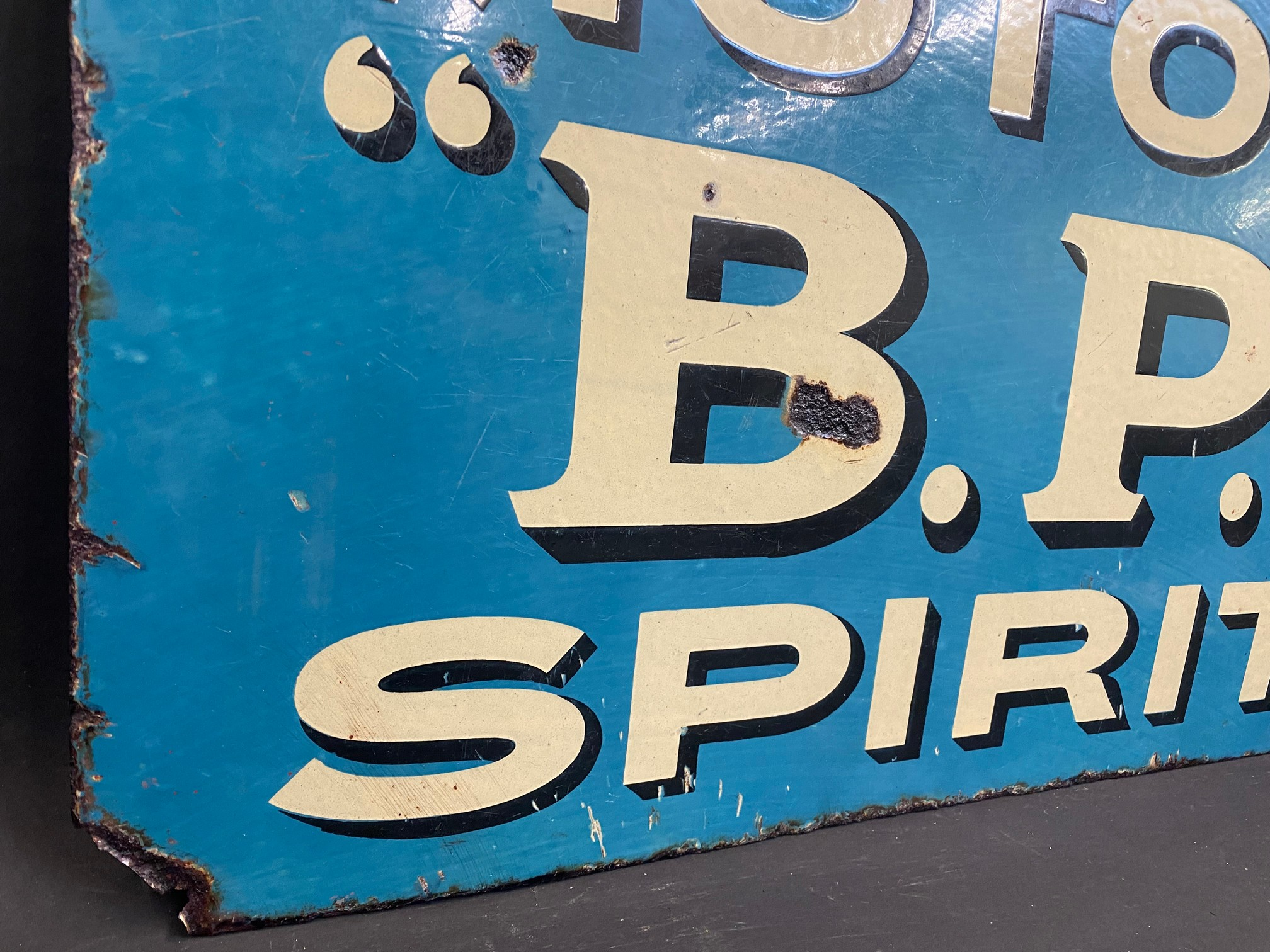An early and rarely seen B.P. Motor Spirit double sided enamel sign with hanging flange (re- - Image 2 of 5
