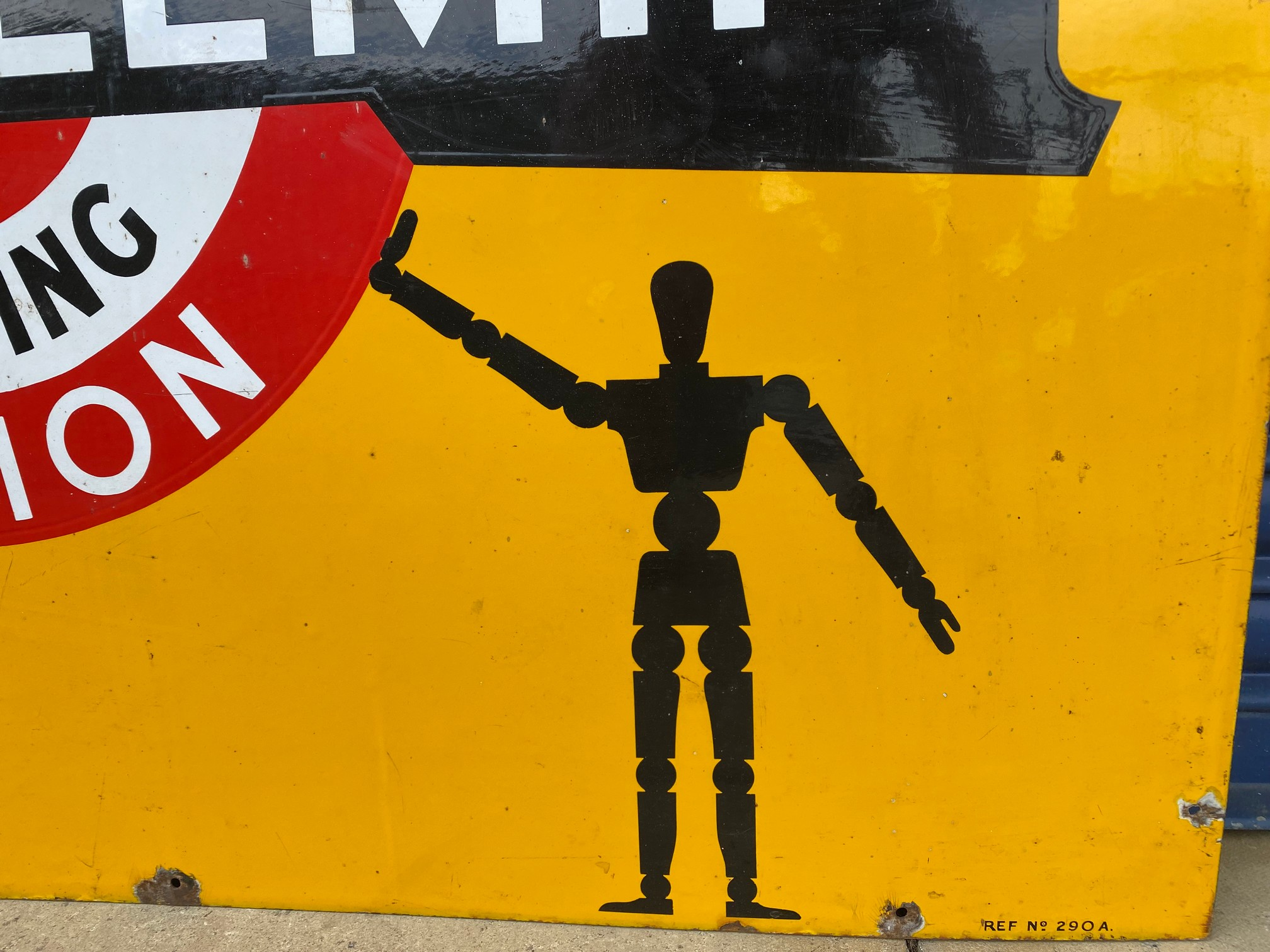 A rare Shell 'robert/stick man' Tecalemit Official Car Valeting Station rectangular enamel sign in - Image 4 of 7