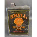 An early Shell Motor Oil half gallon oil can.