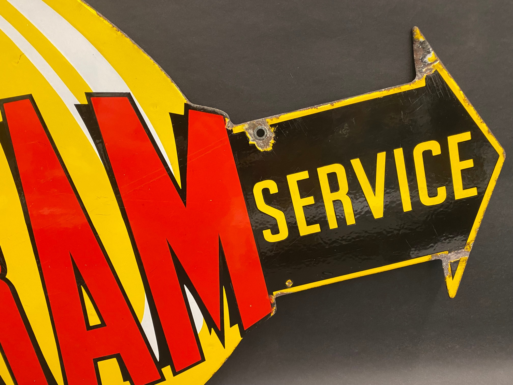 """A very rare Fram 'Official Service' die-cut double sided enamel sign in superb condition, 36 x 21"""". - Image 9 of 9"""
