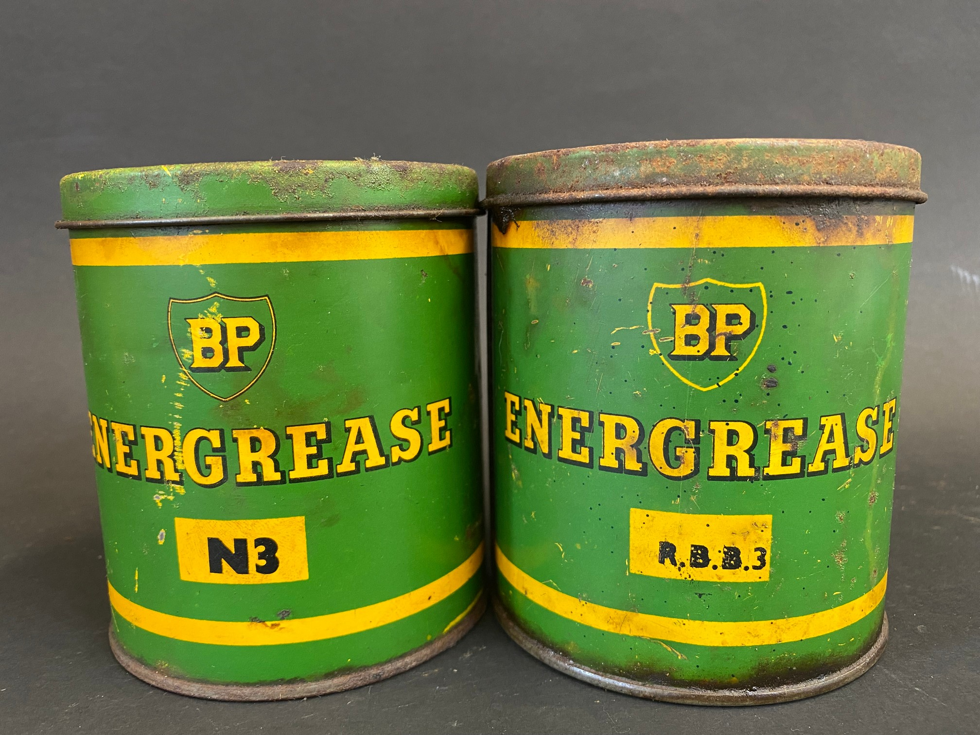 Two BP Energrease tins.