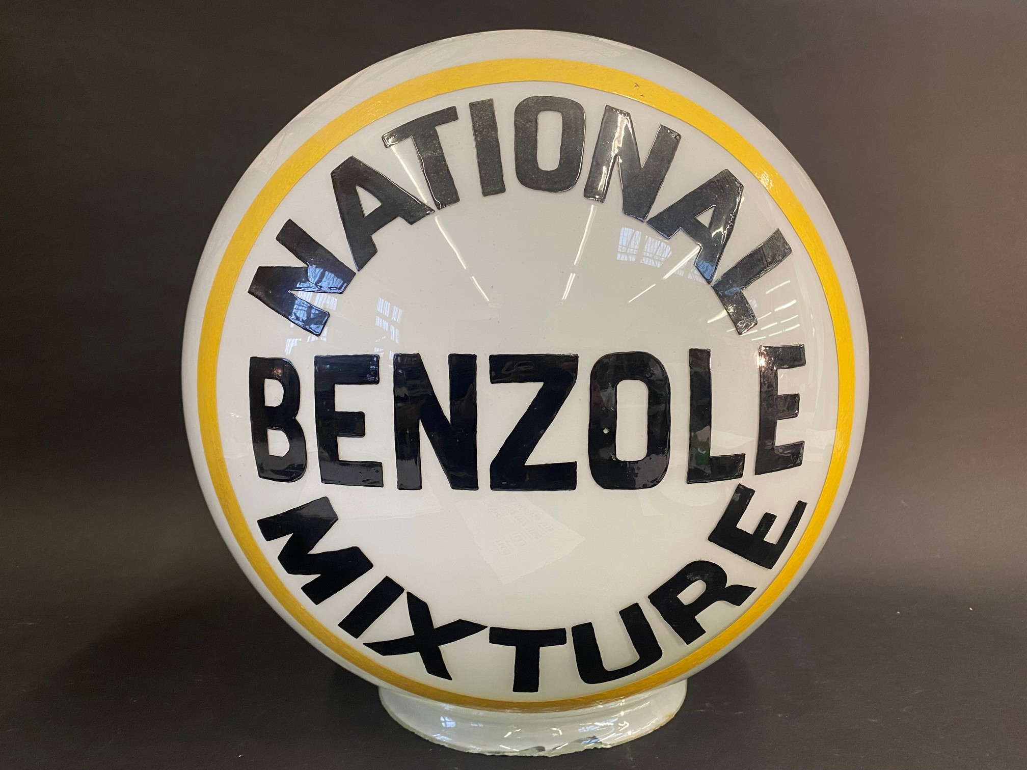 A National Benzole Mixture spherical glass petrol pump/post globe, larger neck version, repainted