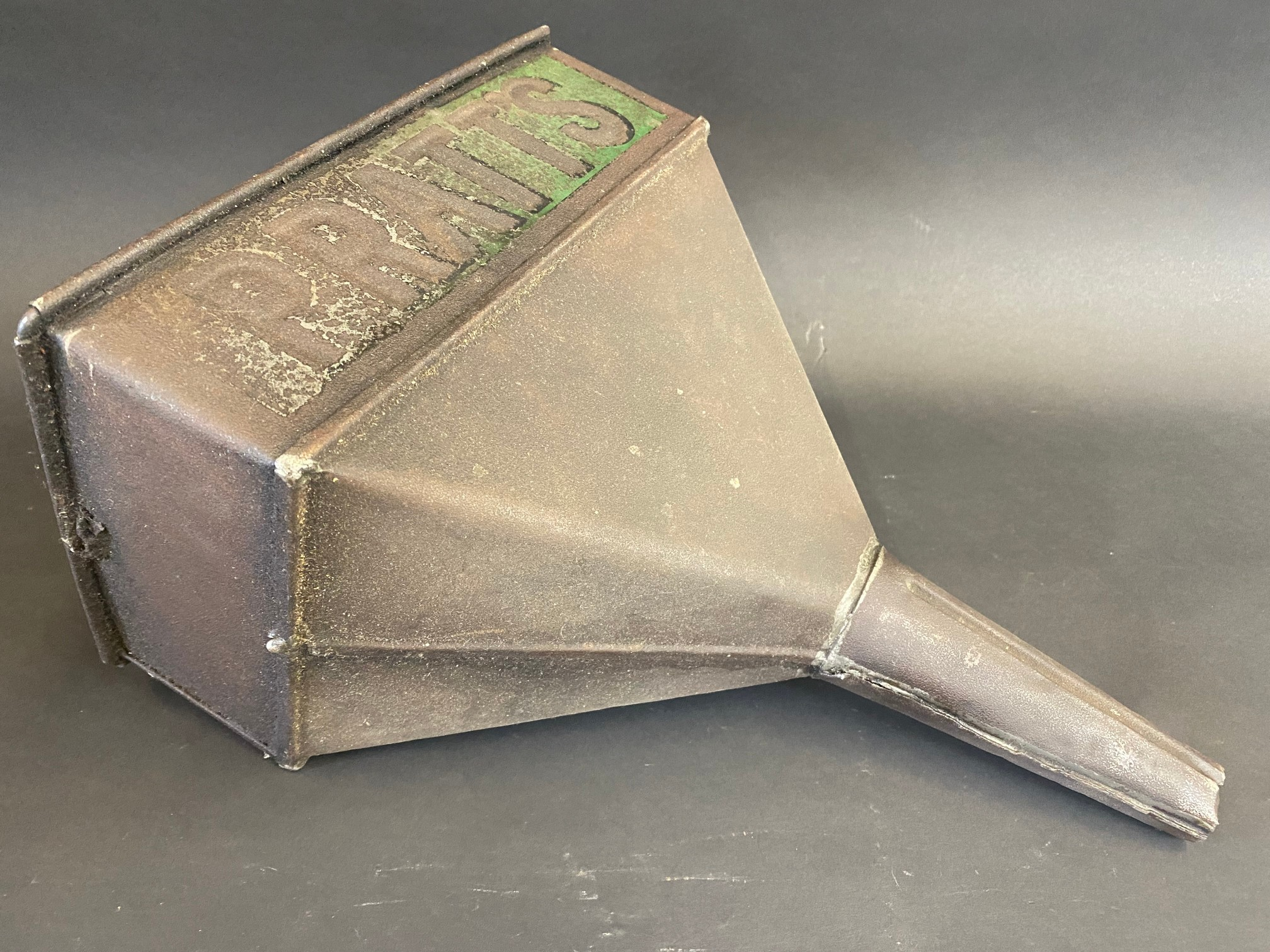 A Pratts rectangular funnel with embossed lettering and traces of original green paint. - Image 4 of 4