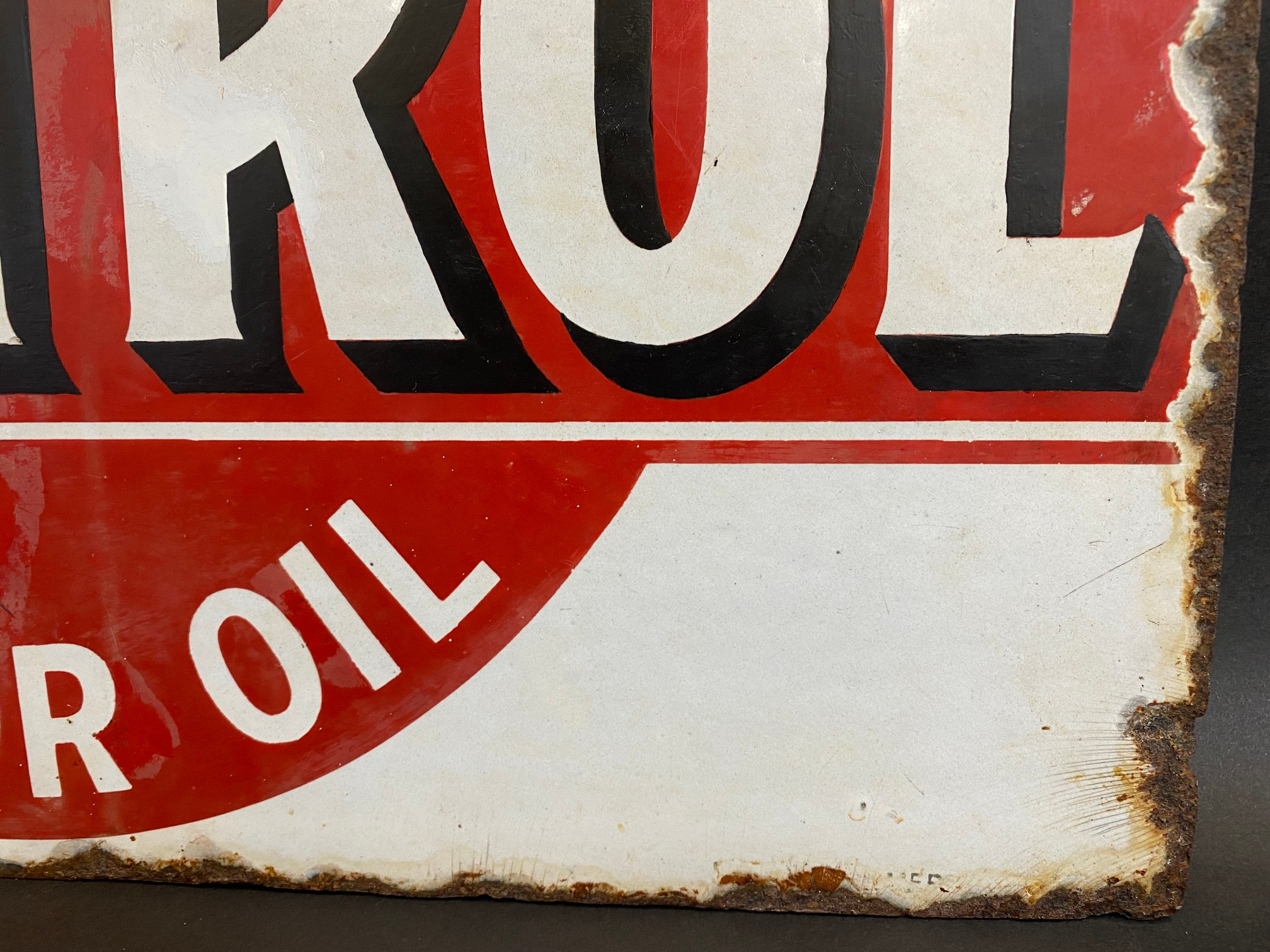 An early Wakefield Castrol Motor Oil double sided enamel sign with hanging flange, rare red and - Image 2 of 7