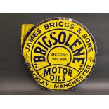 "A rare Brigsolene Motor Oils double sided enamel sign, lacking hanging flange, 18 x 18""."