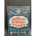 "A rare and early Dunlop Detachable Tyres showcard, circa 1896-1900s, 11 x 14 1/2""."