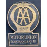 "An AA Members' Policy Motor Union Insurance Co. Ltd. thick cardboard showcard, 12 x 17""."