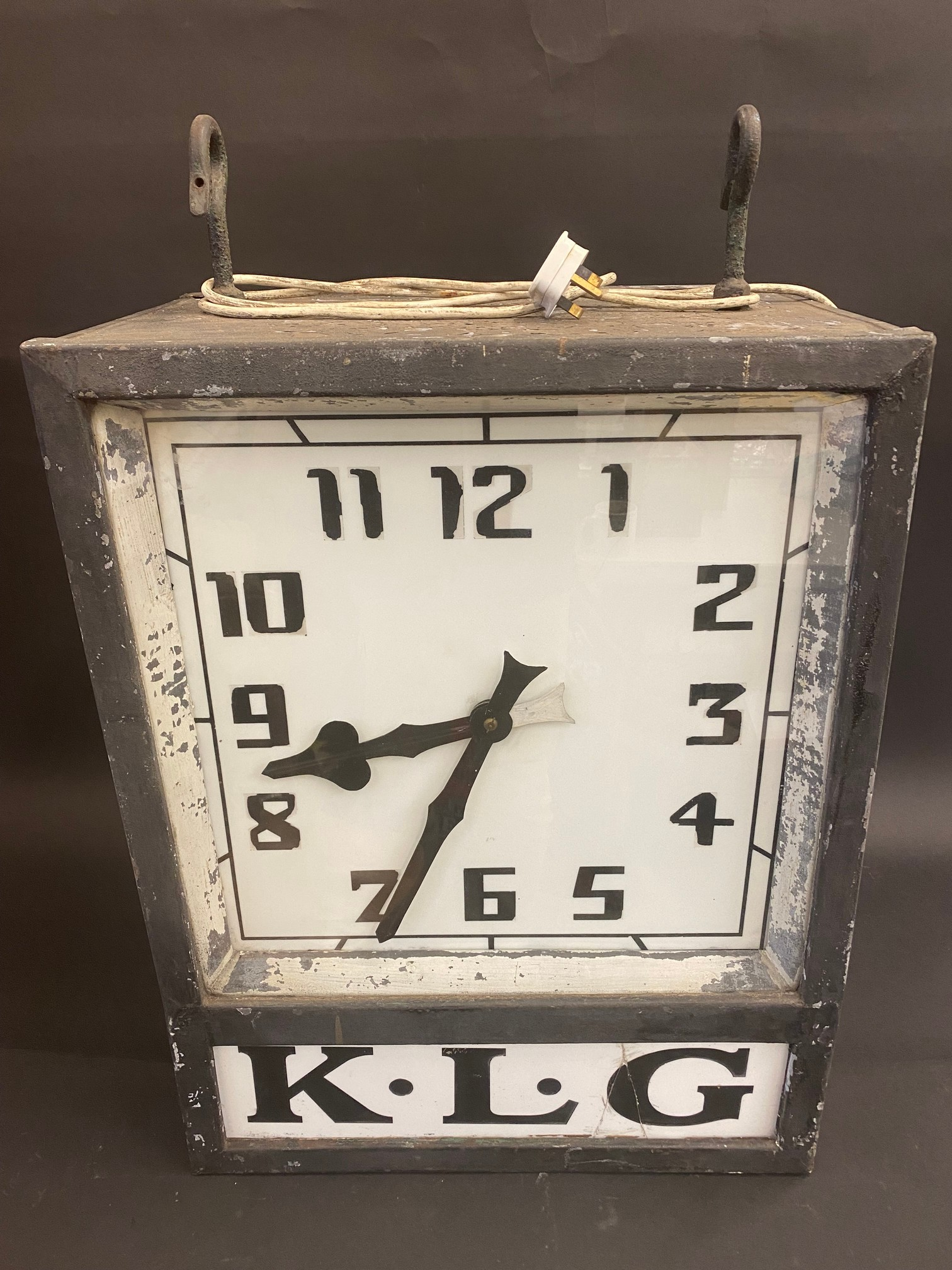 A K.L.G. garage forecourt double sided hanging clock of unusual and attractive form, in very - Image 9 of 12