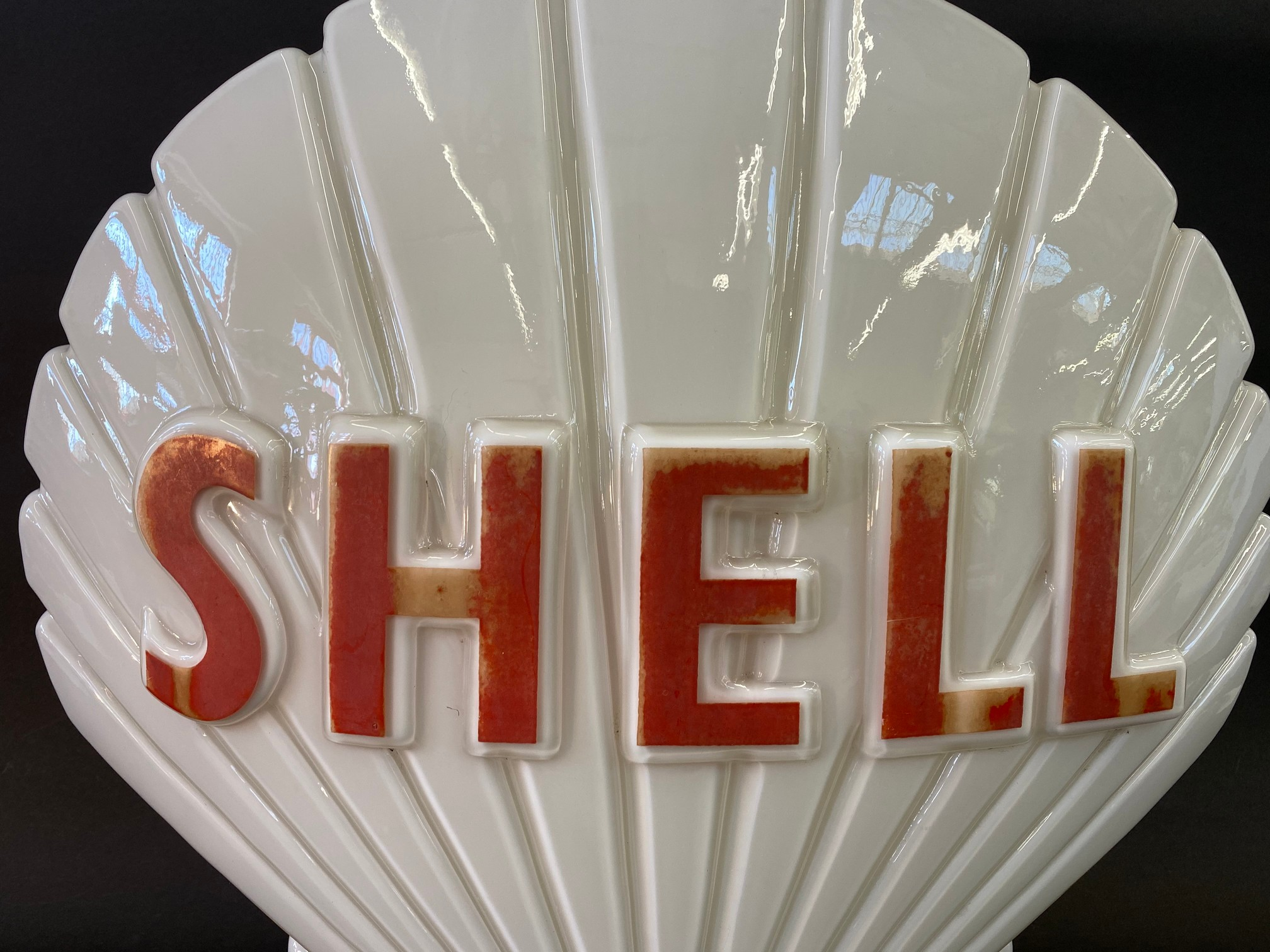 A Shell glass petrol pump globe by Hailware, fully stamped underneath, some damage to the neck under - Image 3 of 4