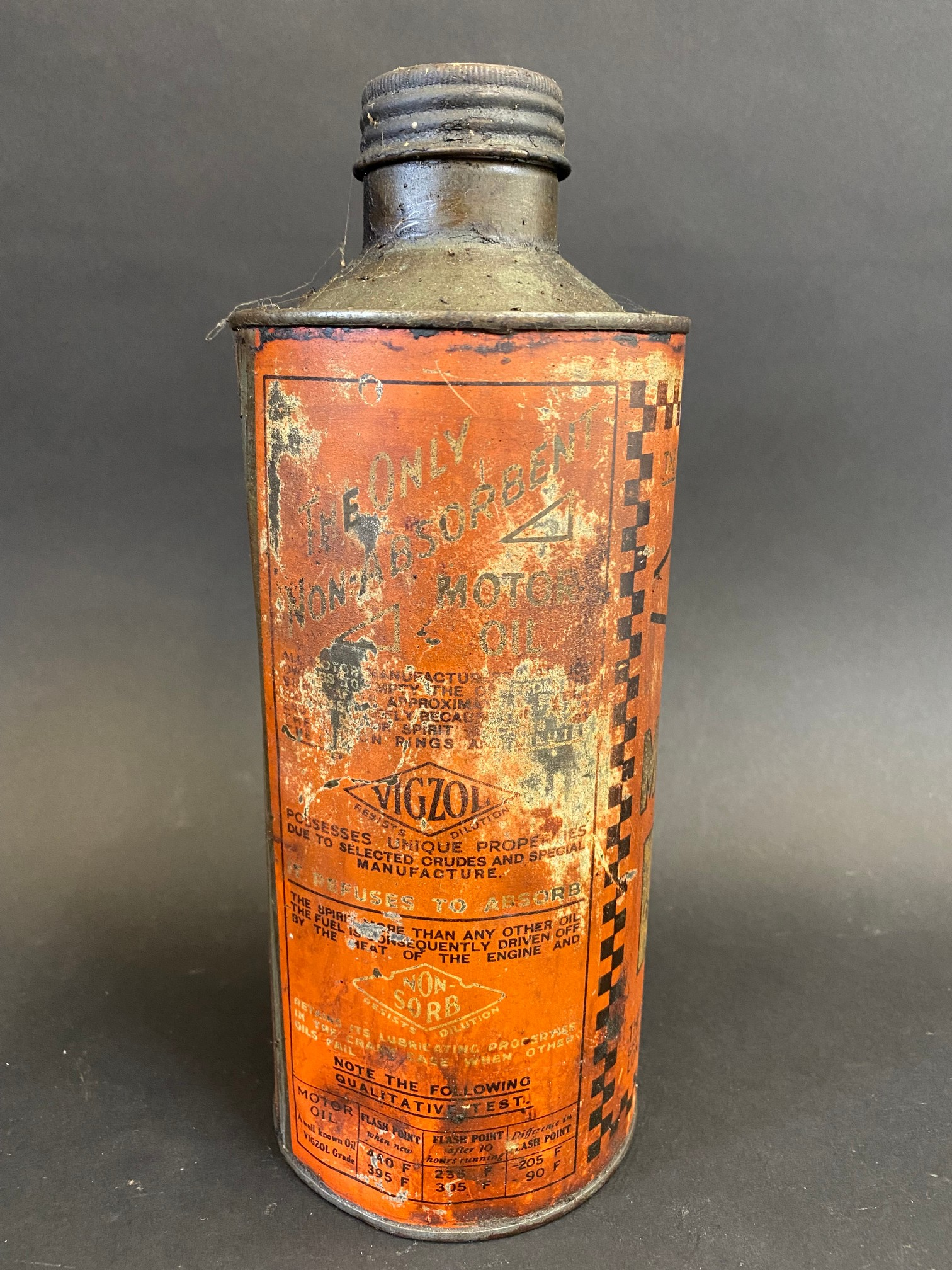 A Vigzol Motor Oil cylindrical quart can. - Image 2 of 5