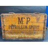 A rare M.P (Manx Petroleum) Petroleum Spirit wooden lidded box for the transport of four two