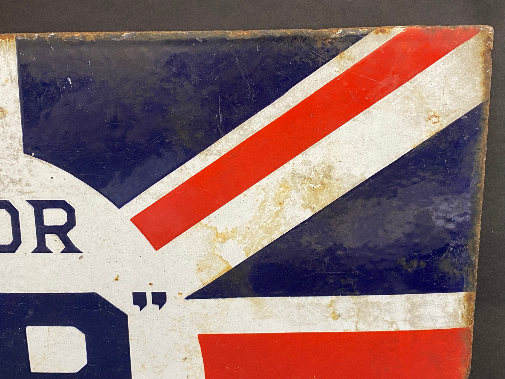 """A BP Motor Spirit 'Union Jack' double sided enamel sign with hanging flange by Franco, 24 x 16"""". - Image 4 of 6"""