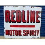 """A Redline Motor Spirit rectangular enamel sign by Protector of Eccles, excellent gloss, 48 x 42""""."""