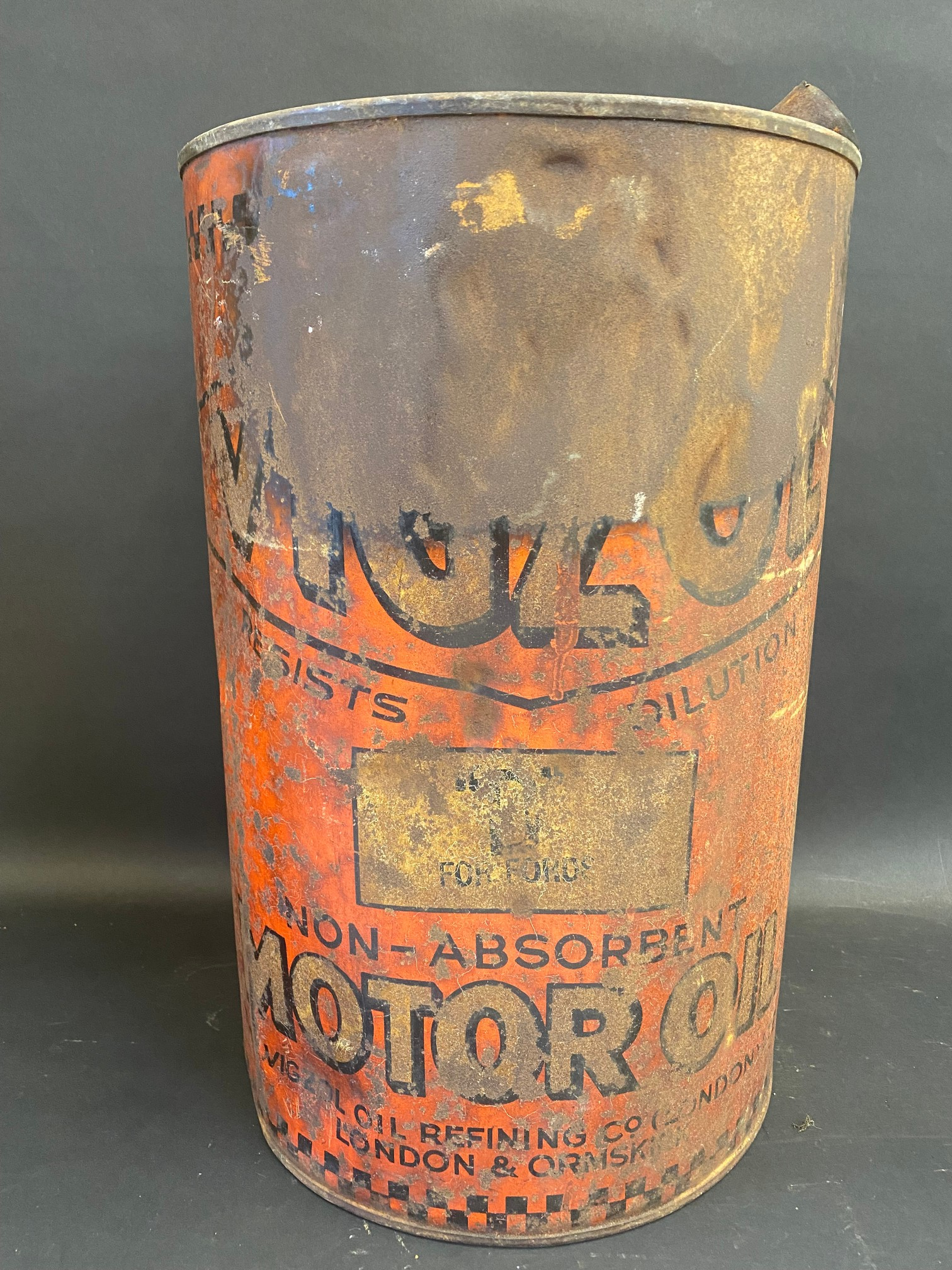 An early Vigzol Motor Oil five gallon drum. - Image 2 of 4