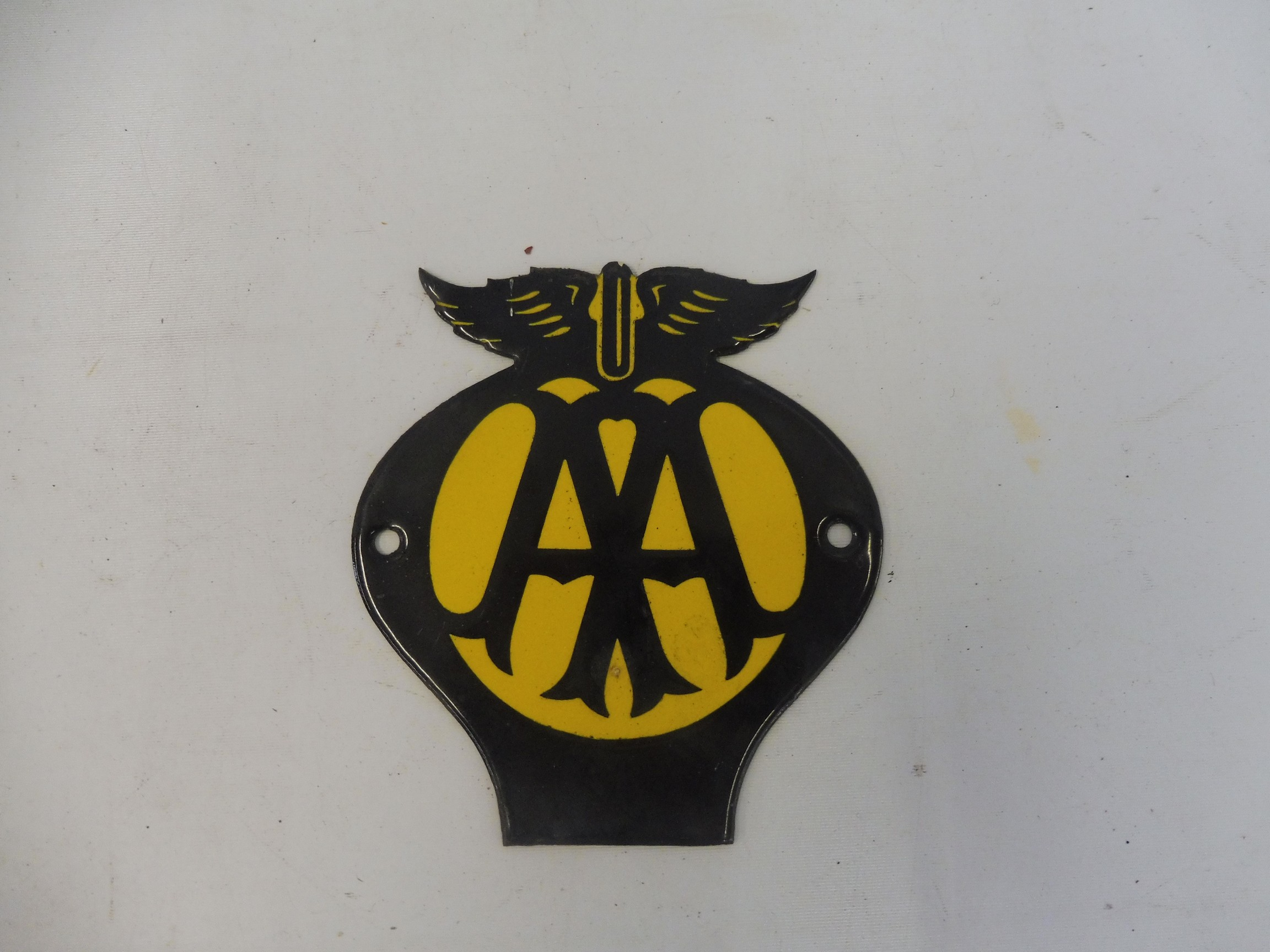 """A small AA enamel badge, as fixed to some fibreboard road signs, 4 1/4 x 4 3/4""""."""