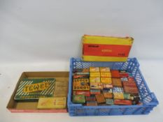 A tray of assorted spark plug and bulb packing, some with contents, plus a Dunlop Airseal tube box