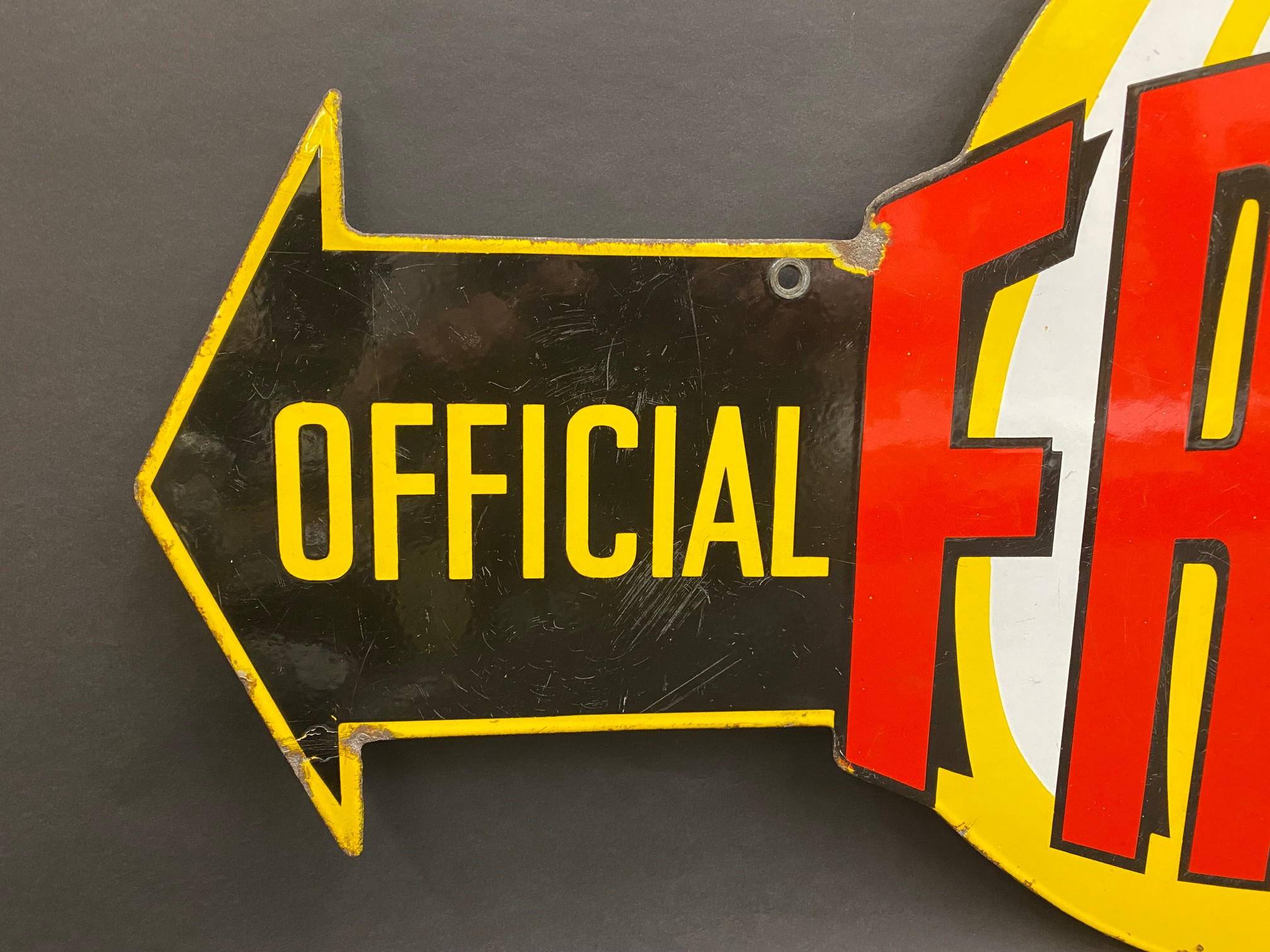 """A very rare Fram 'Official Service' die-cut double sided enamel sign in superb condition, 36 x 21"""". - Image 2 of 9"""