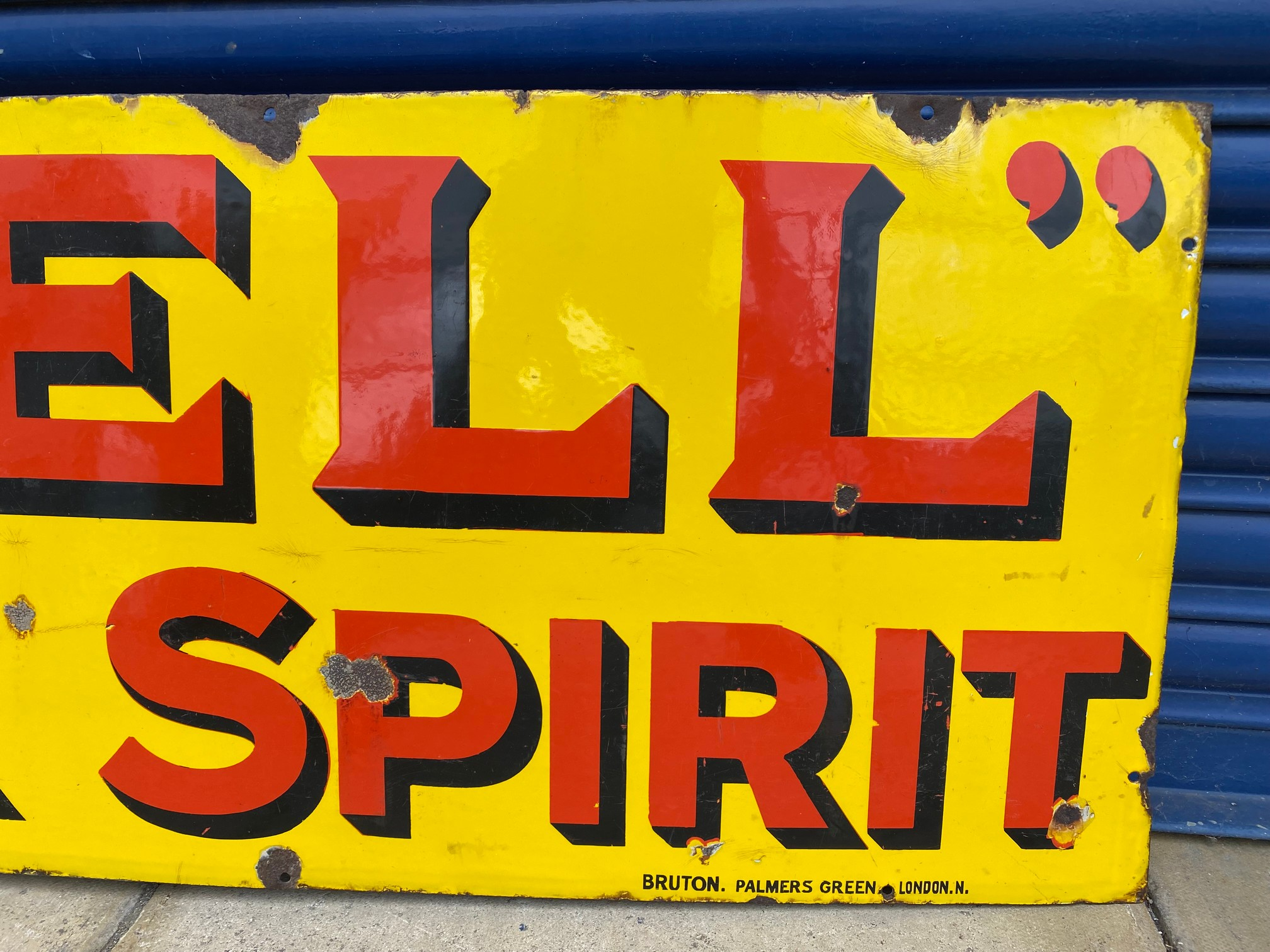 A Shell Motor Spirit rectangular enamel sign by Bruton of Palmers Green, excellent original - Image 4 of 5