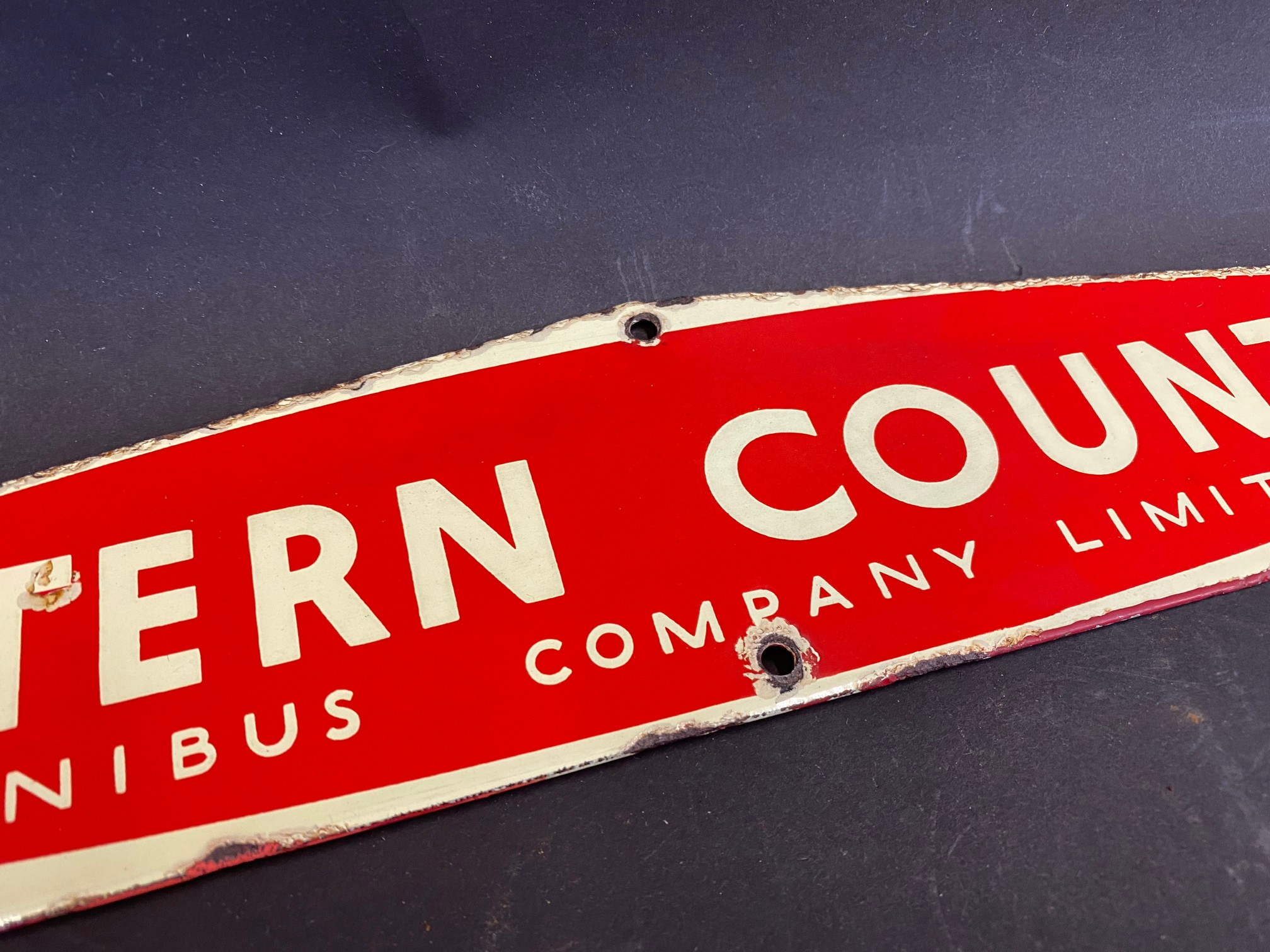 """An Eastern Counties enamel notice board header sign, 22 1/2 x 3 1/4"""". - Image 3 of 5"""