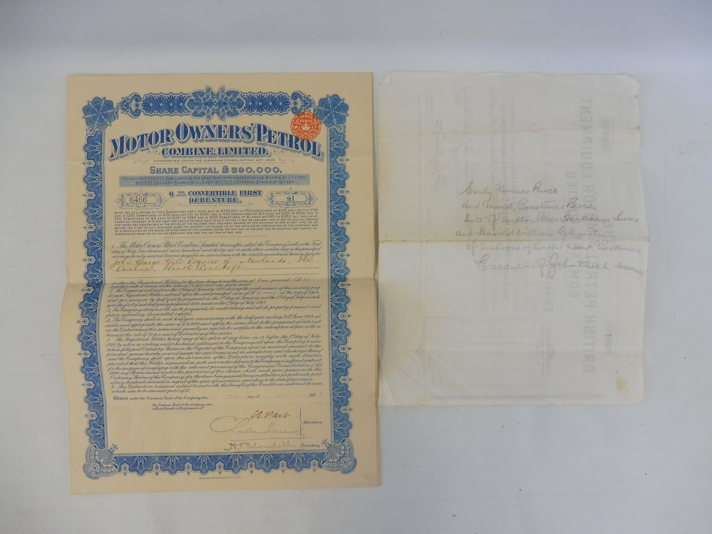 A share certificate for The British Petrol and Motor Equipment Company Limited dated March 1922 - Image 2 of 2