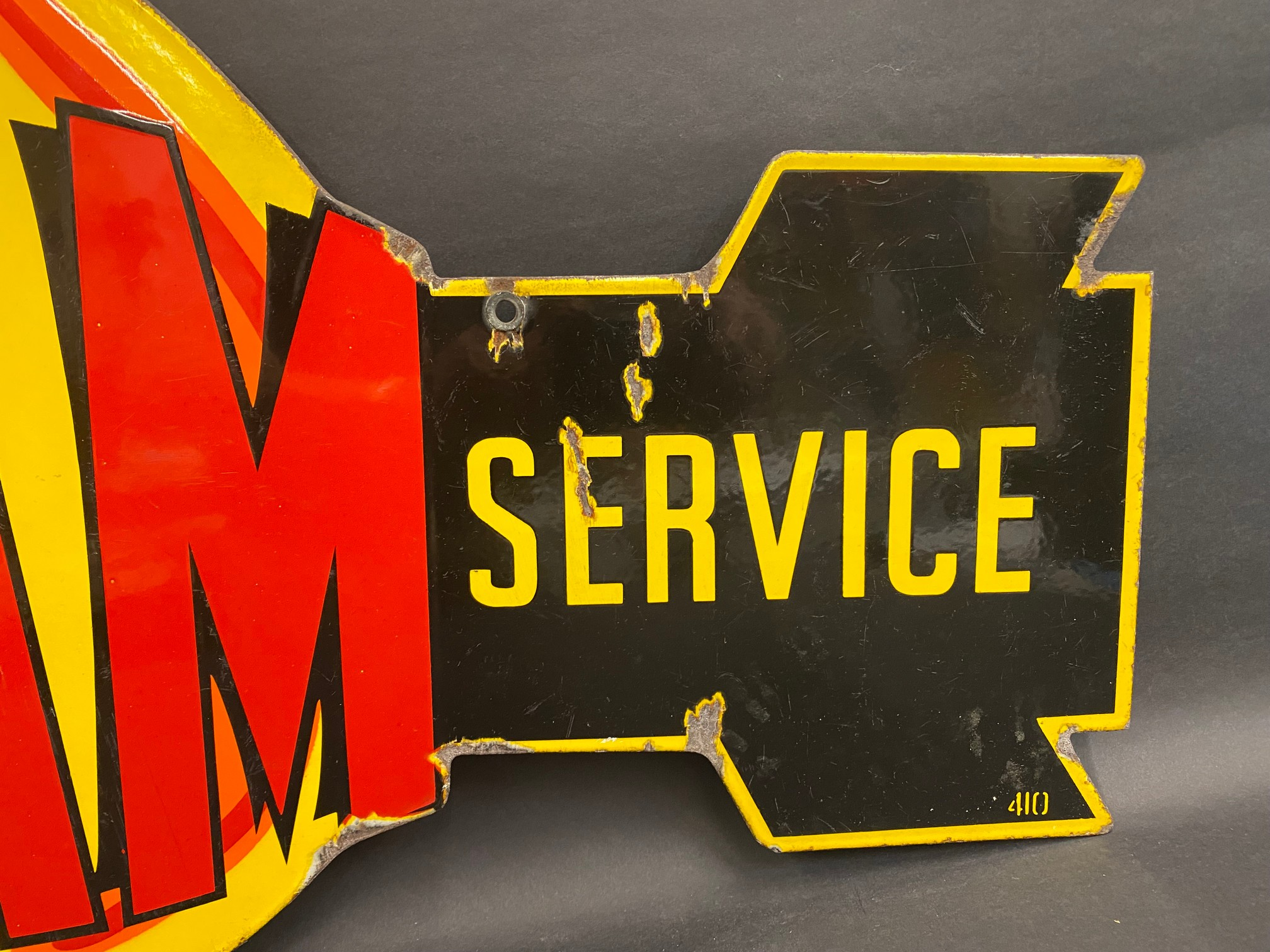 """A very rare Fram 'Official Service' die-cut double sided enamel sign in superb condition, 36 x 21"""". - Image 5 of 9"""