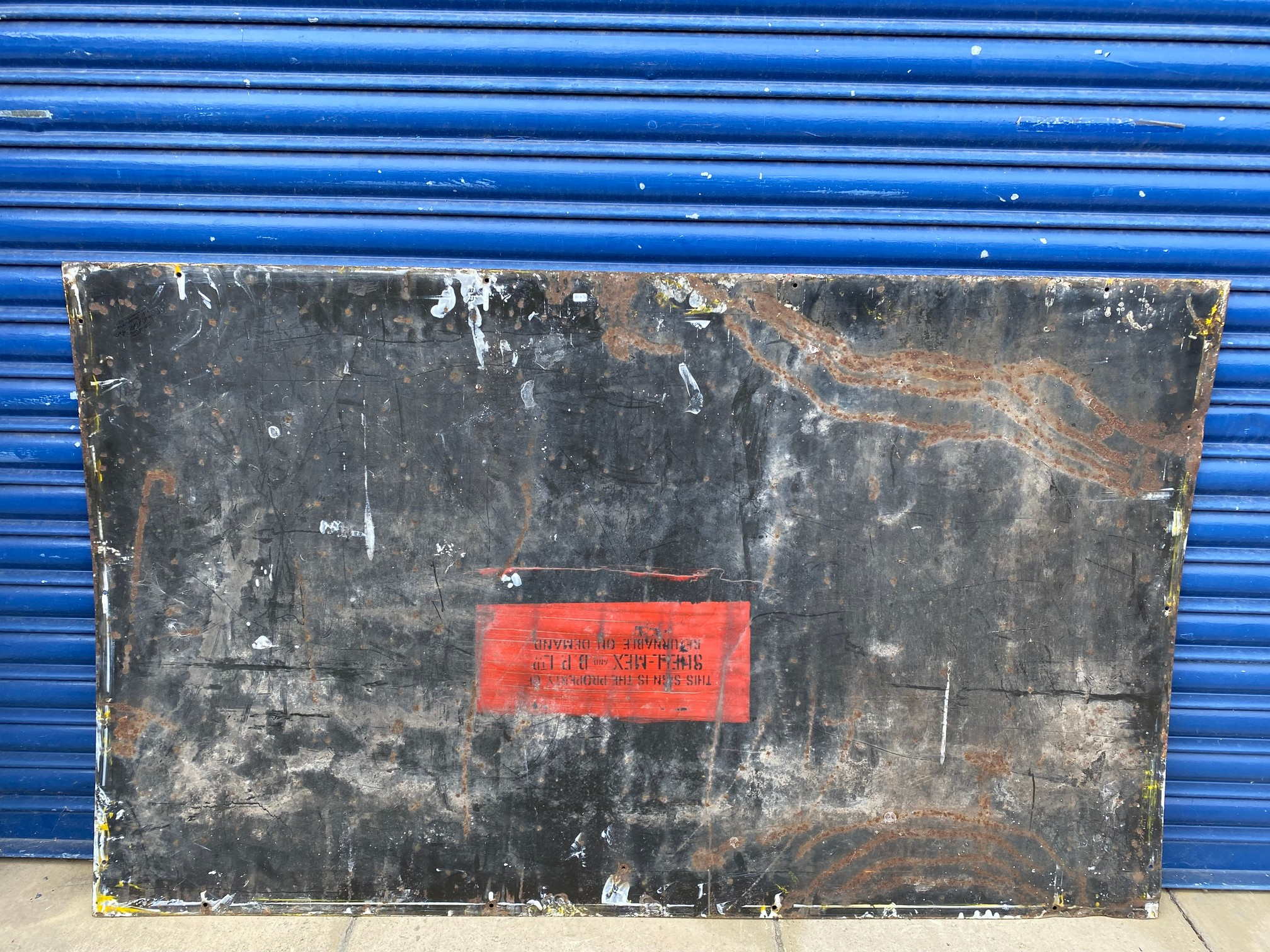 A rare Shell 'robert/stick man' Tecalemit Official Car Valeting Station rectangular enamel sign in - Image 6 of 7