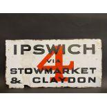 An unusual double sided enamel sign - Ipswich, Bury St. Edmunds via Stowmarket & Claydon, by Franco,