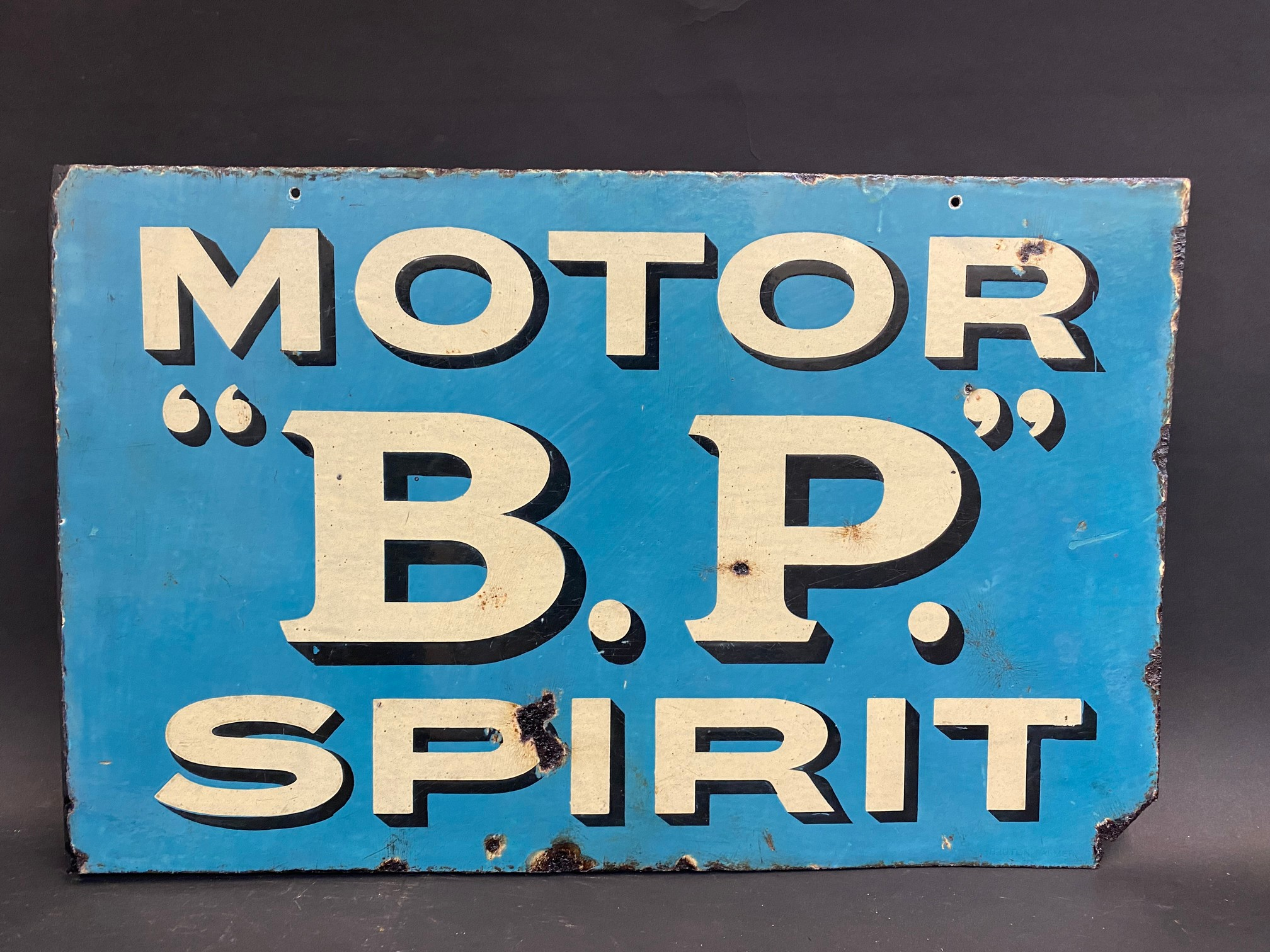An early and rarely seen B.P. Motor Spirit double sided enamel sign with hanging flange (re- - Image 4 of 5