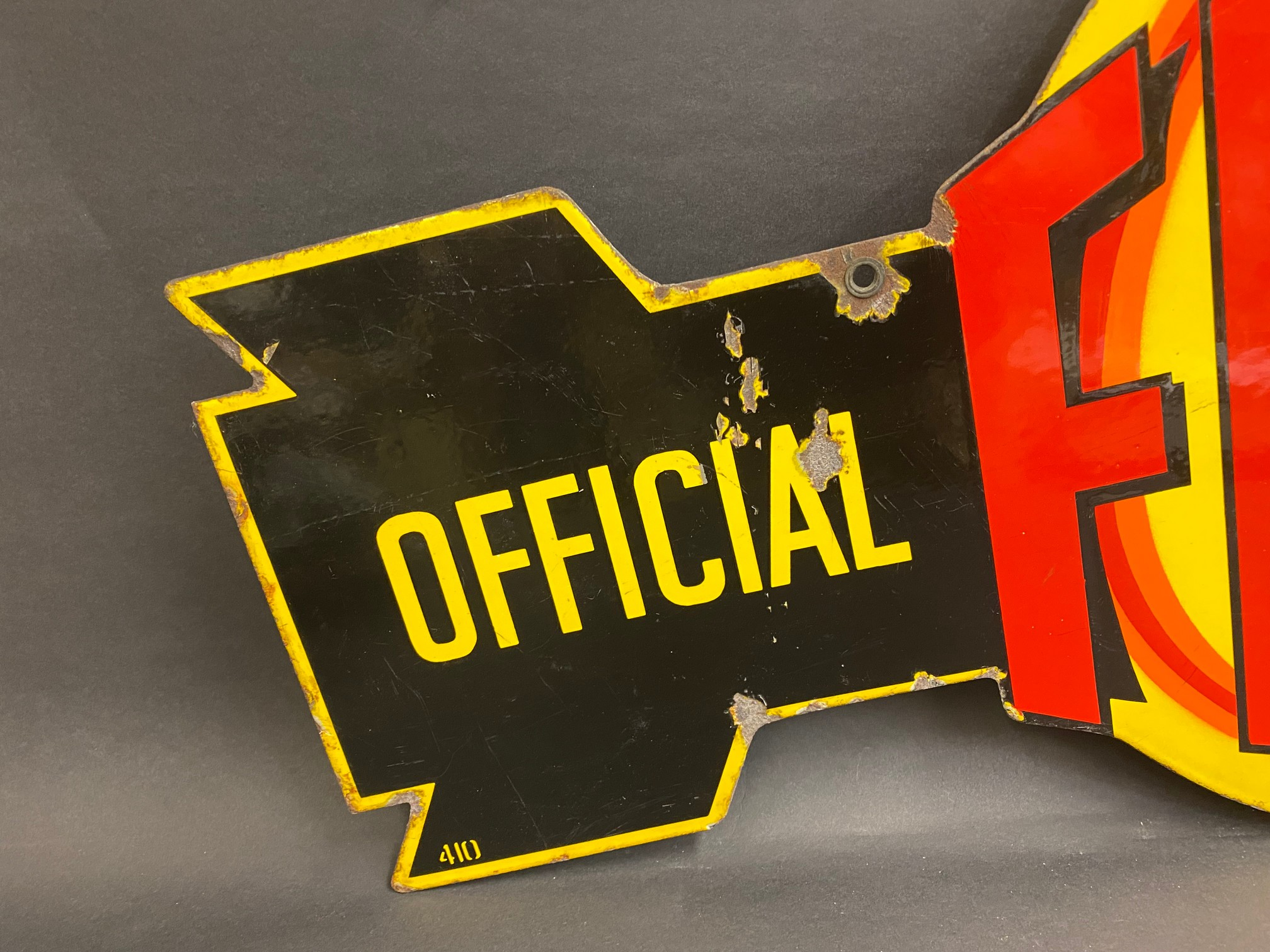 """A very rare Fram 'Official Service' die-cut double sided enamel sign in superb condition, 36 x 21"""". - Image 7 of 9"""