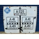 A large RAC enamel road junction sign, straight on for A525, left for A41 and A49 to Newport &