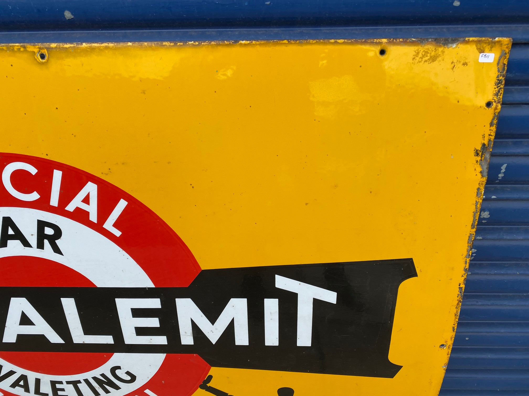 A rare Shell 'robert/stick man' Tecalemit Official Car Valeting Station rectangular enamel sign in - Image 5 of 7