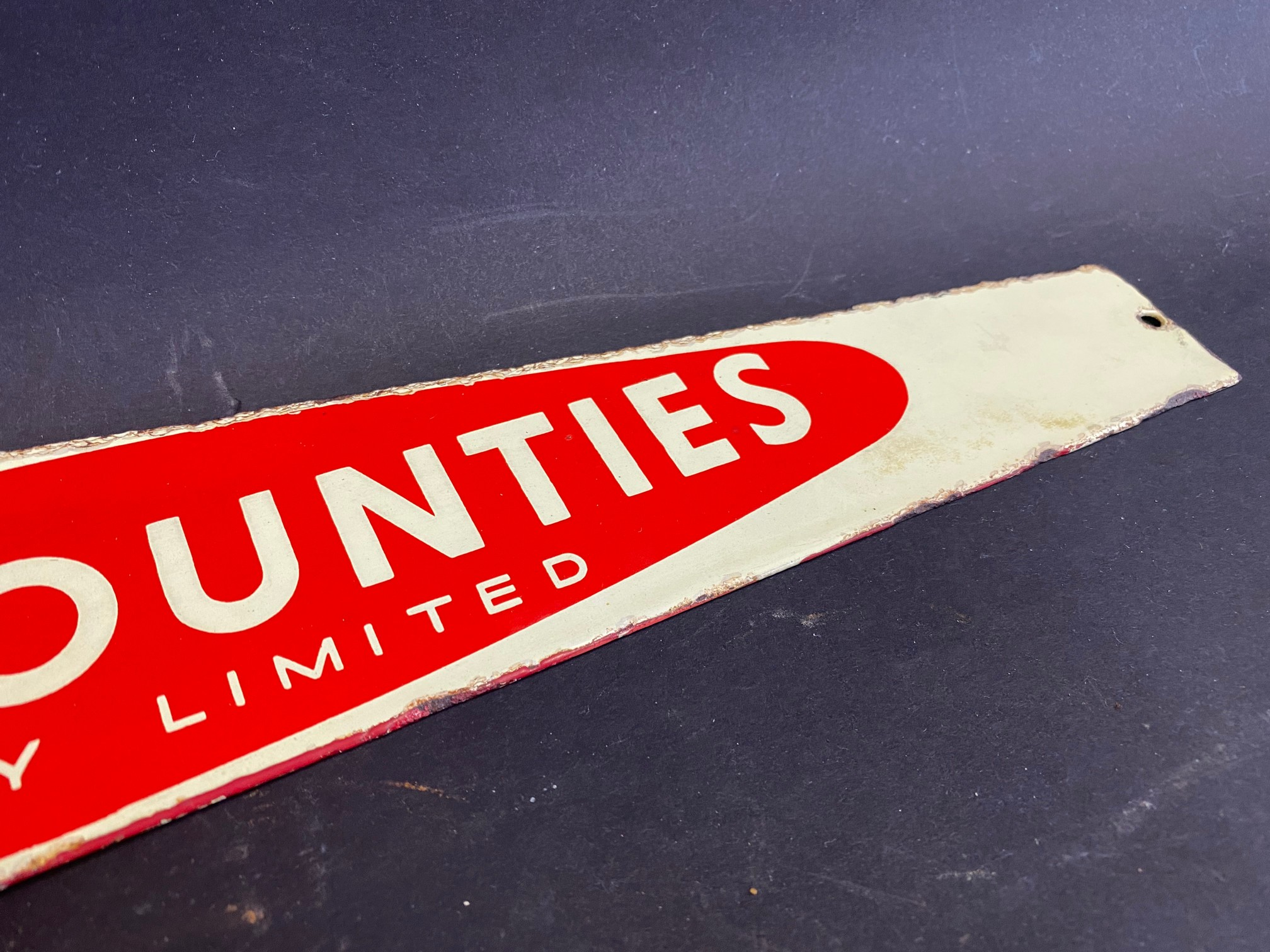 """An Eastern Counties enamel notice board header sign, 22 1/2 x 3 1/4"""". - Image 4 of 5"""