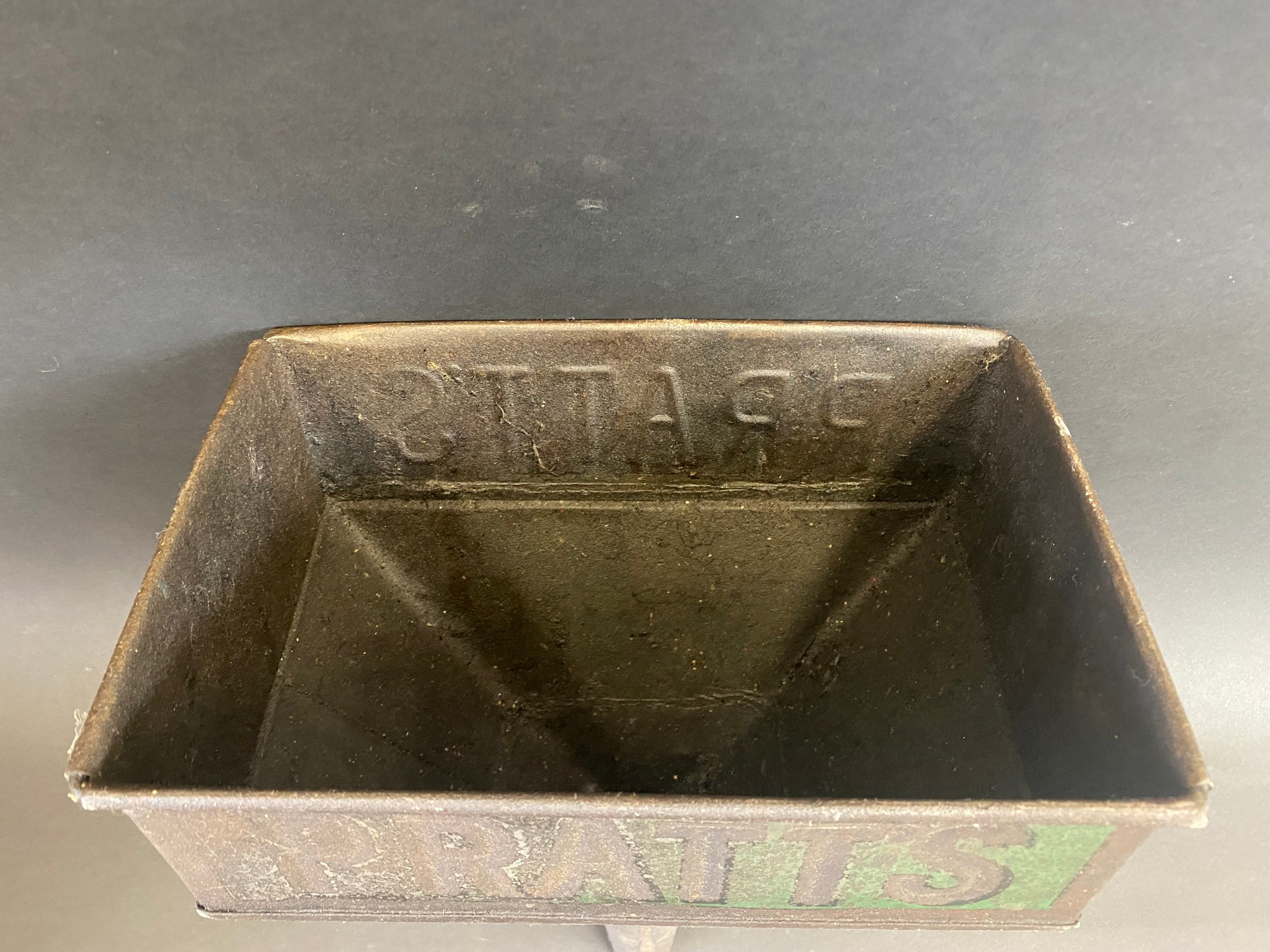 A Pratts rectangular funnel with embossed lettering and traces of original green paint. - Image 2 of 4