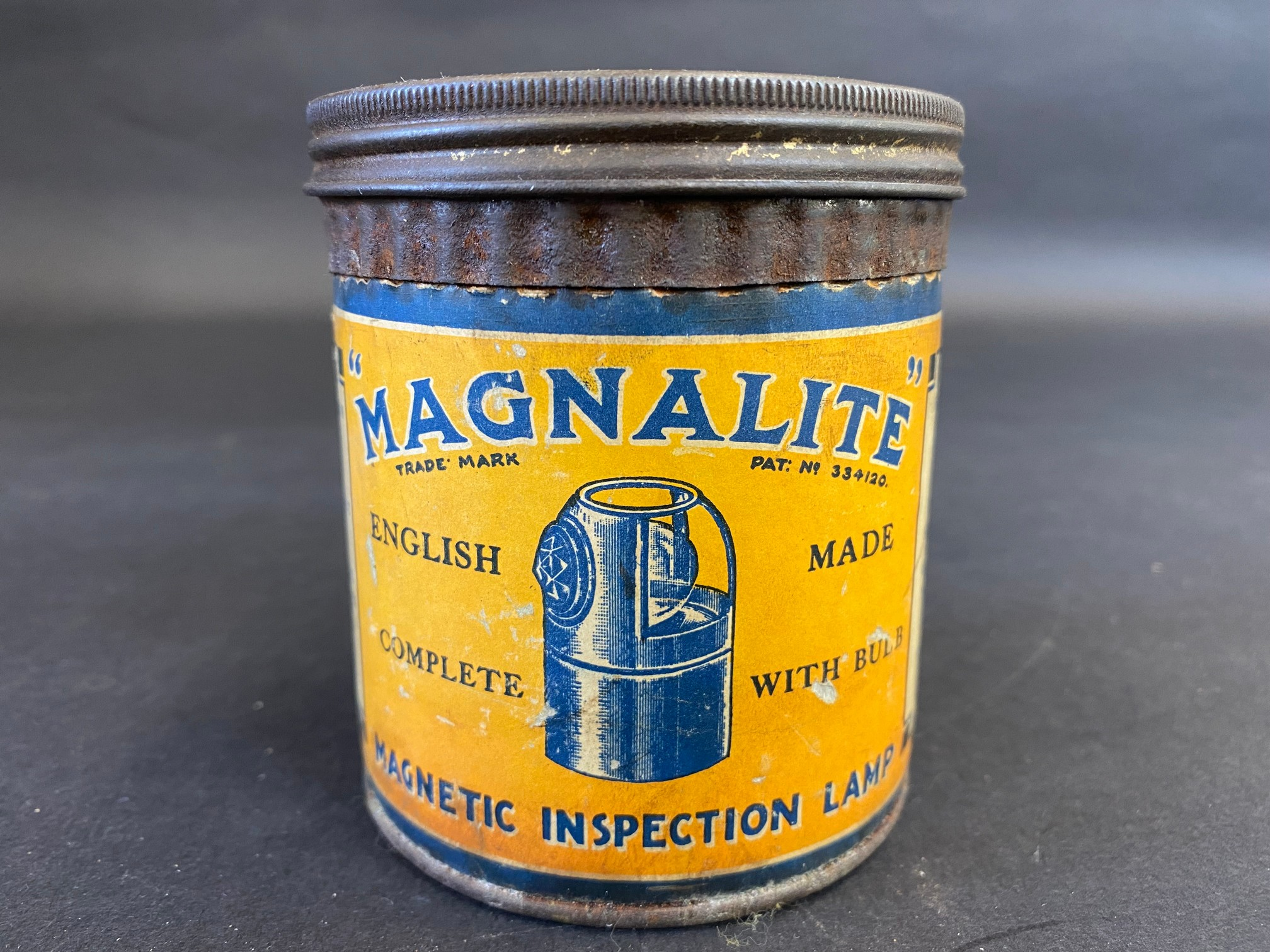 A 'Magnalite' tin with original inspection lamp contents.