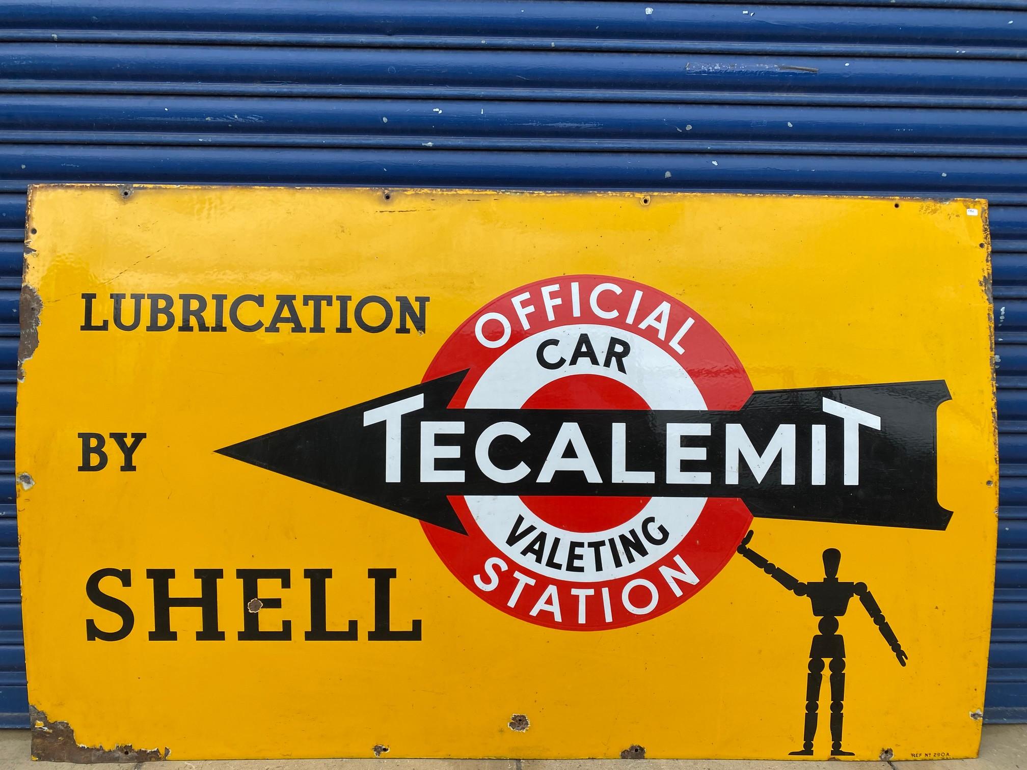 A rare Shell 'robert/stick man' Tecalemit Official Car Valeting Station rectangular enamel sign in