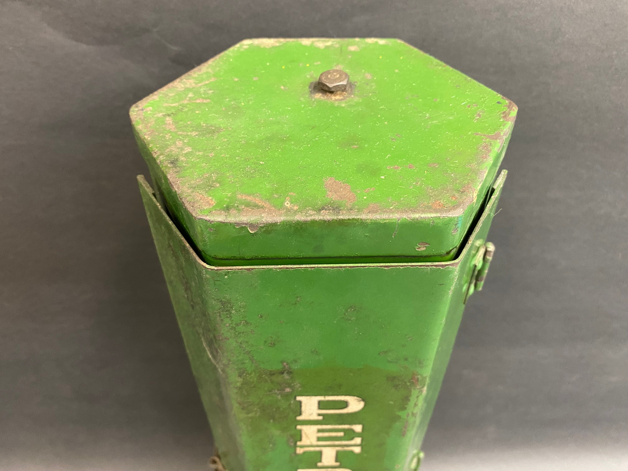 A very unusual Fitrate 'Petroyle' hexagonal wall mounted UCL cabinet with a gun inside. - Image 4 of 6