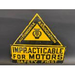 """An AA 'Impracticable For Motors' Safety First enamel sign, with some restoration, 26 x 24""""."""