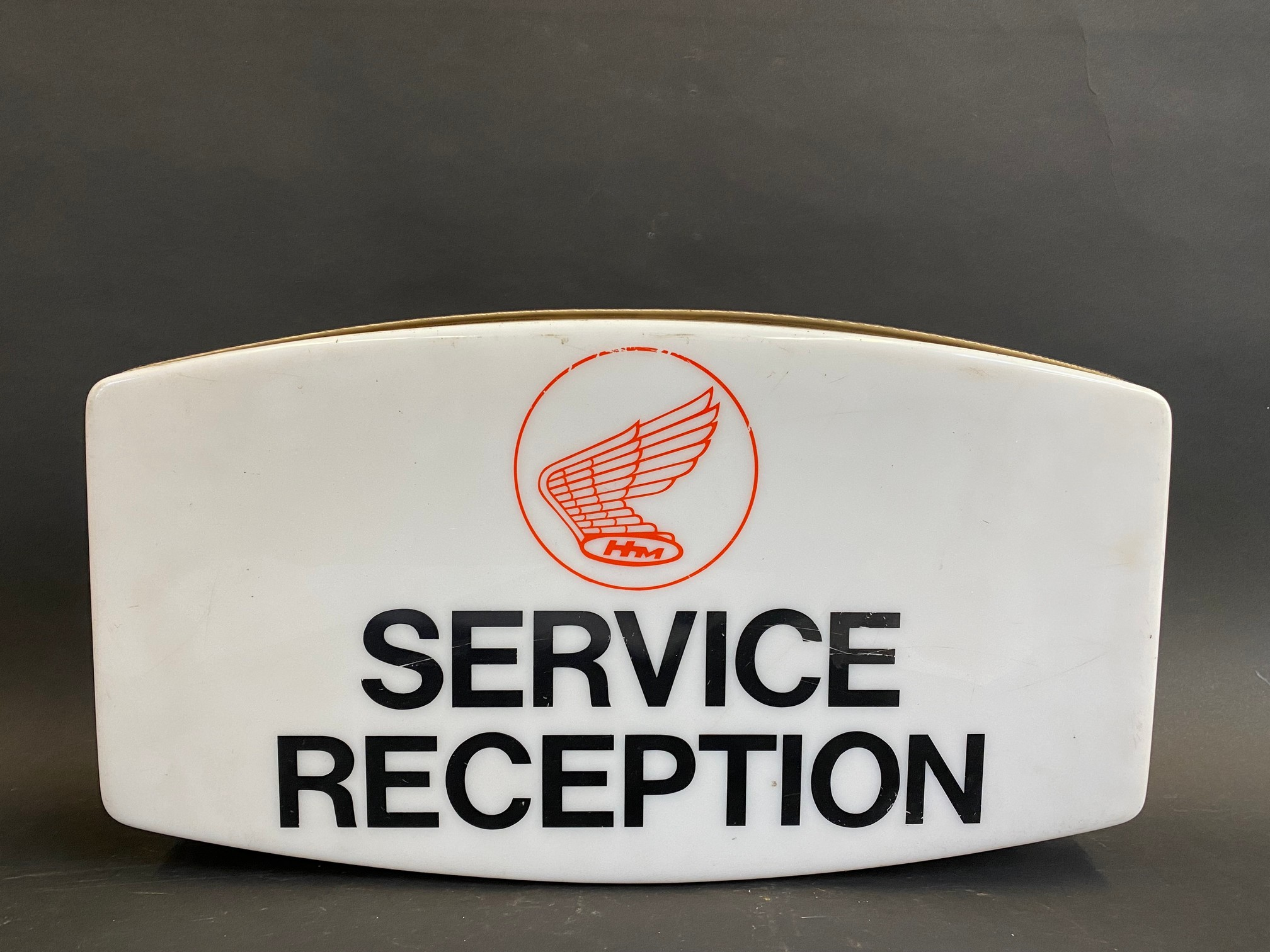 """A late 1960s/early 1970s Honda Motorcycles 'Service Reception' showroom illuminated sign, 18"""" wide x"""