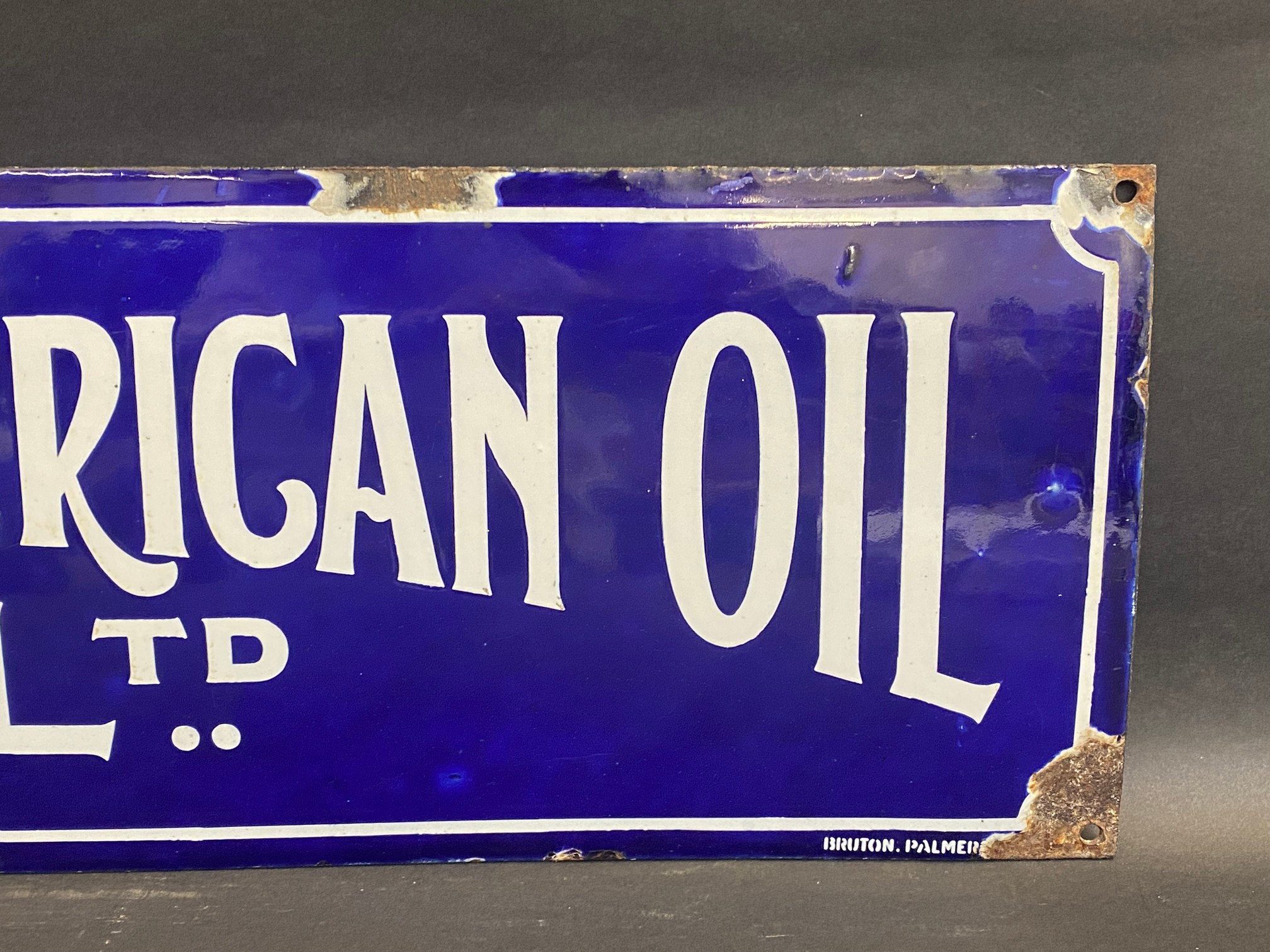"""A rare Anglo American Oil Co Ltd rectangular enamel sign by Bruton of Palmers Green, 27 x 8"""". - Image 4 of 5"""