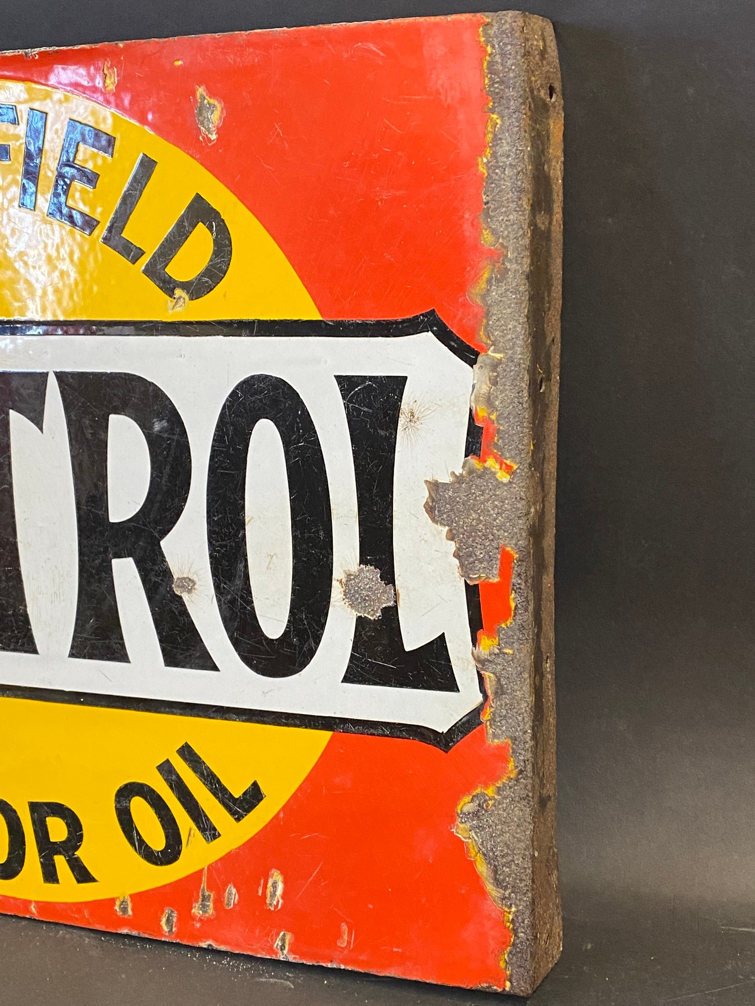A Wakefield Castrol Motor Oil double sided enamel sign with hanging flange by Bruton of Palmers - Image 4 of 4
