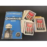 A copy of The Dominion News, no.2 Vol.6 February 1939 plus a pack of Dominion Tyres playing cards (