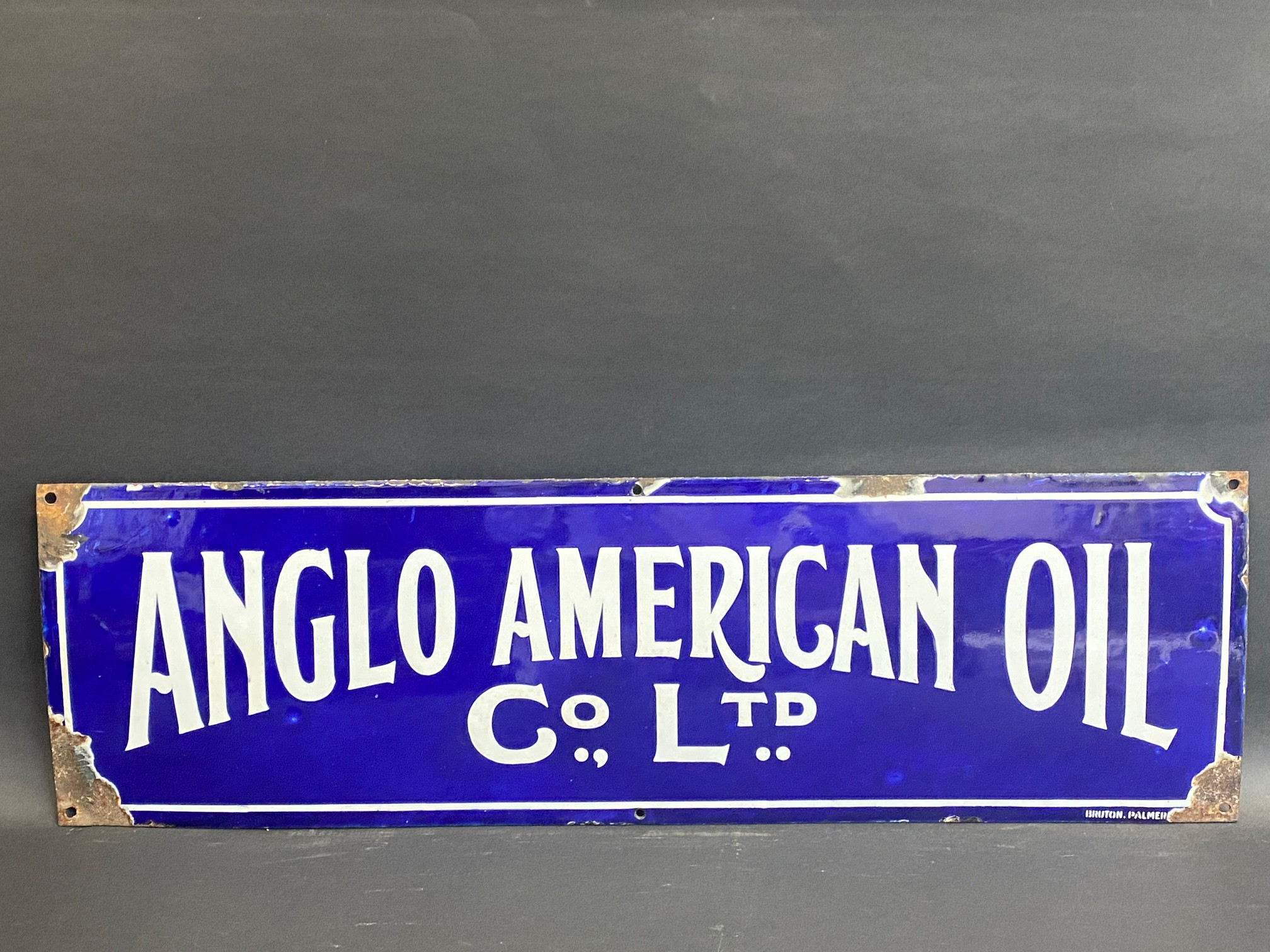 """A rare Anglo American Oil Co Ltd rectangular enamel sign by Bruton of Palmers Green, 27 x 8""""."""