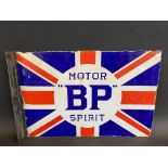 A BP Motor Spirit Union Jack double sided enamel sign with re-attached hanging flange, some