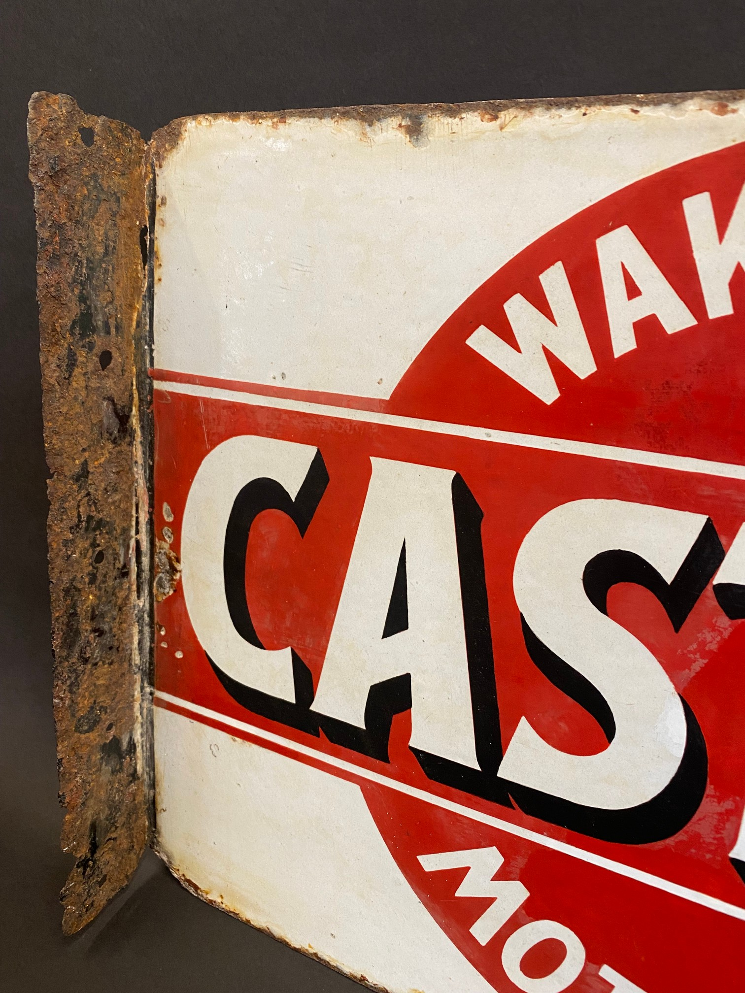 An early Wakefield Castrol Motor Oil double sided enamel sign with hanging flange, rare red and - Image 4 of 7