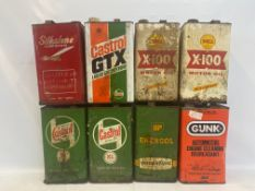 Eight 1 gallon cans including two Shell X-100, Silkolene and Wakefield Castrol.