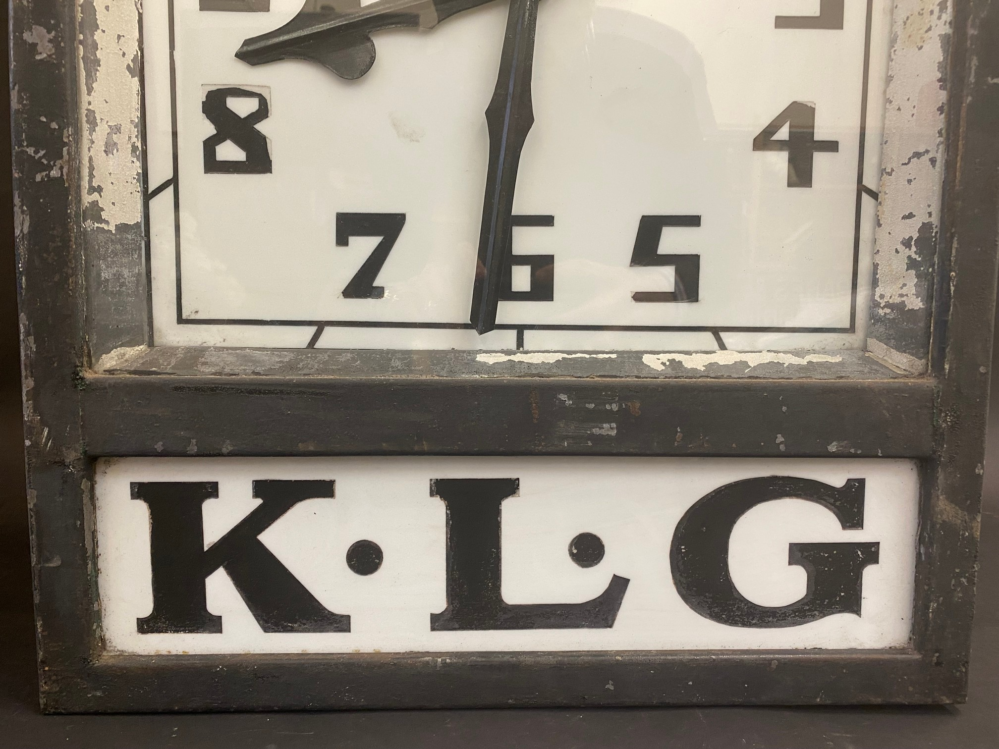 A K.L.G. garage forecourt double sided hanging clock of unusual and attractive form, in very - Image 4 of 12