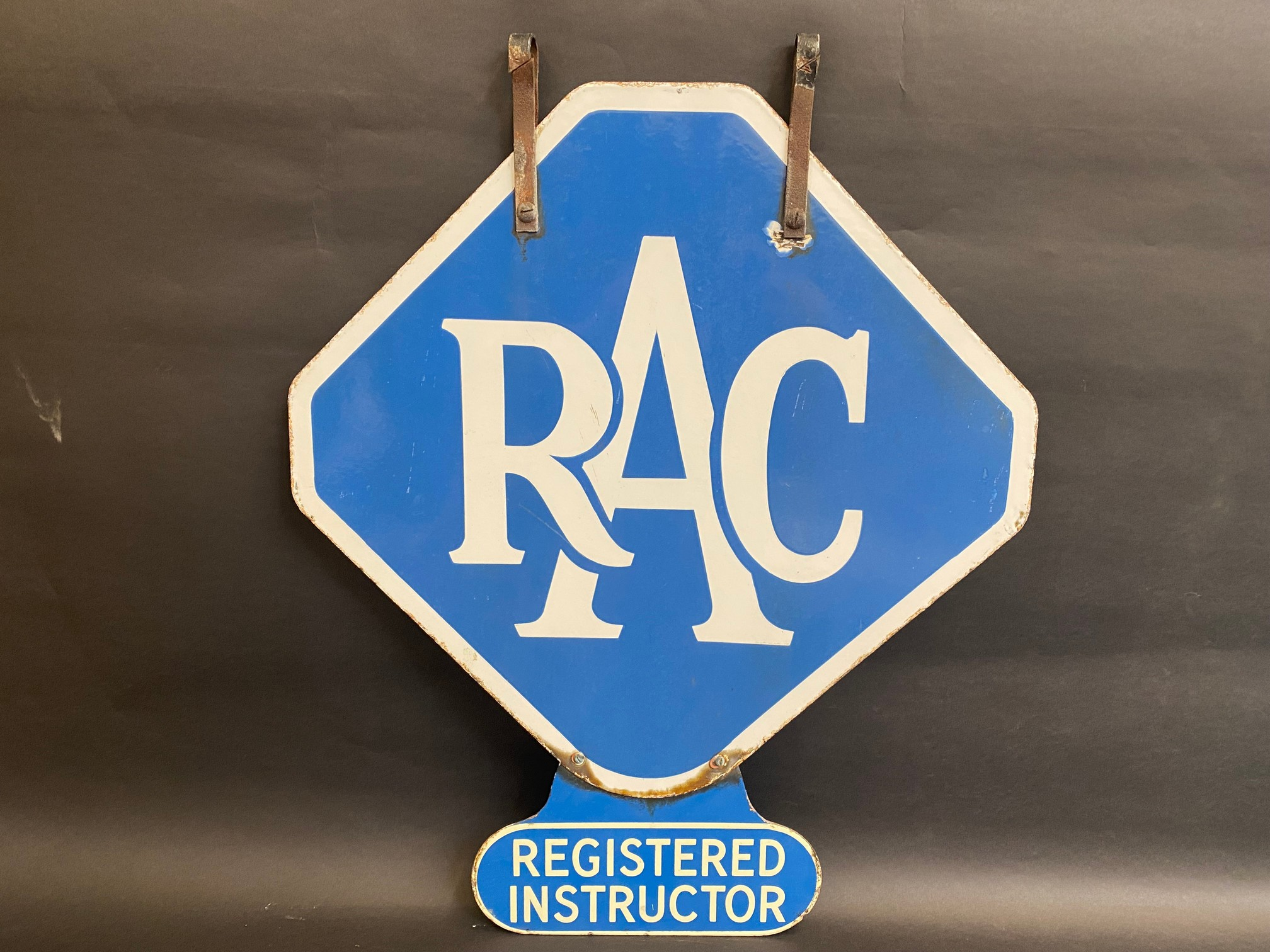 An RAC lozenge shaped double sided enamel sign with hanging hooks and a 'Registered Instructor' - Image 5 of 8
